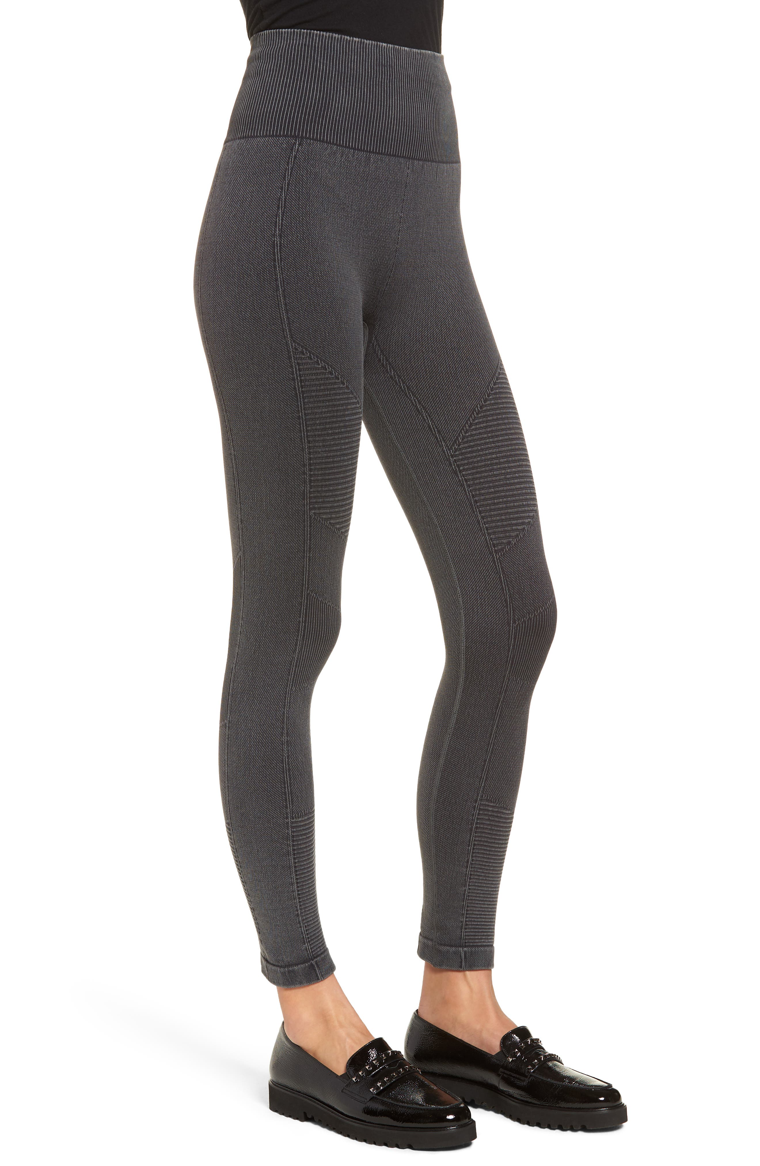 Washed Moto Seamless Skimmer Leggings,                             Alternate thumbnail 3, color,                             001