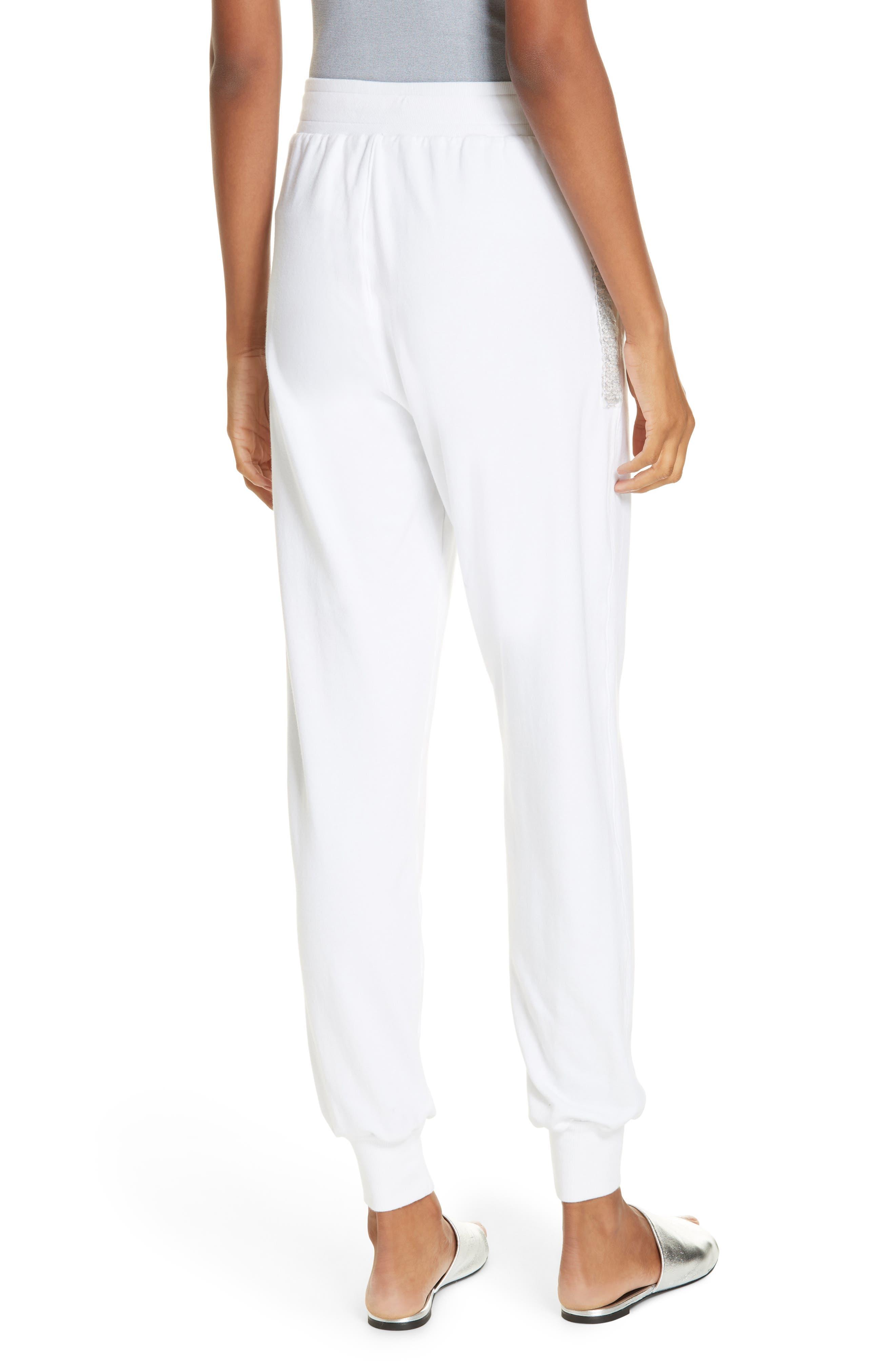 Sequin Cotton Blend Jogger Pants,                             Alternate thumbnail 2, color,                             WHITE