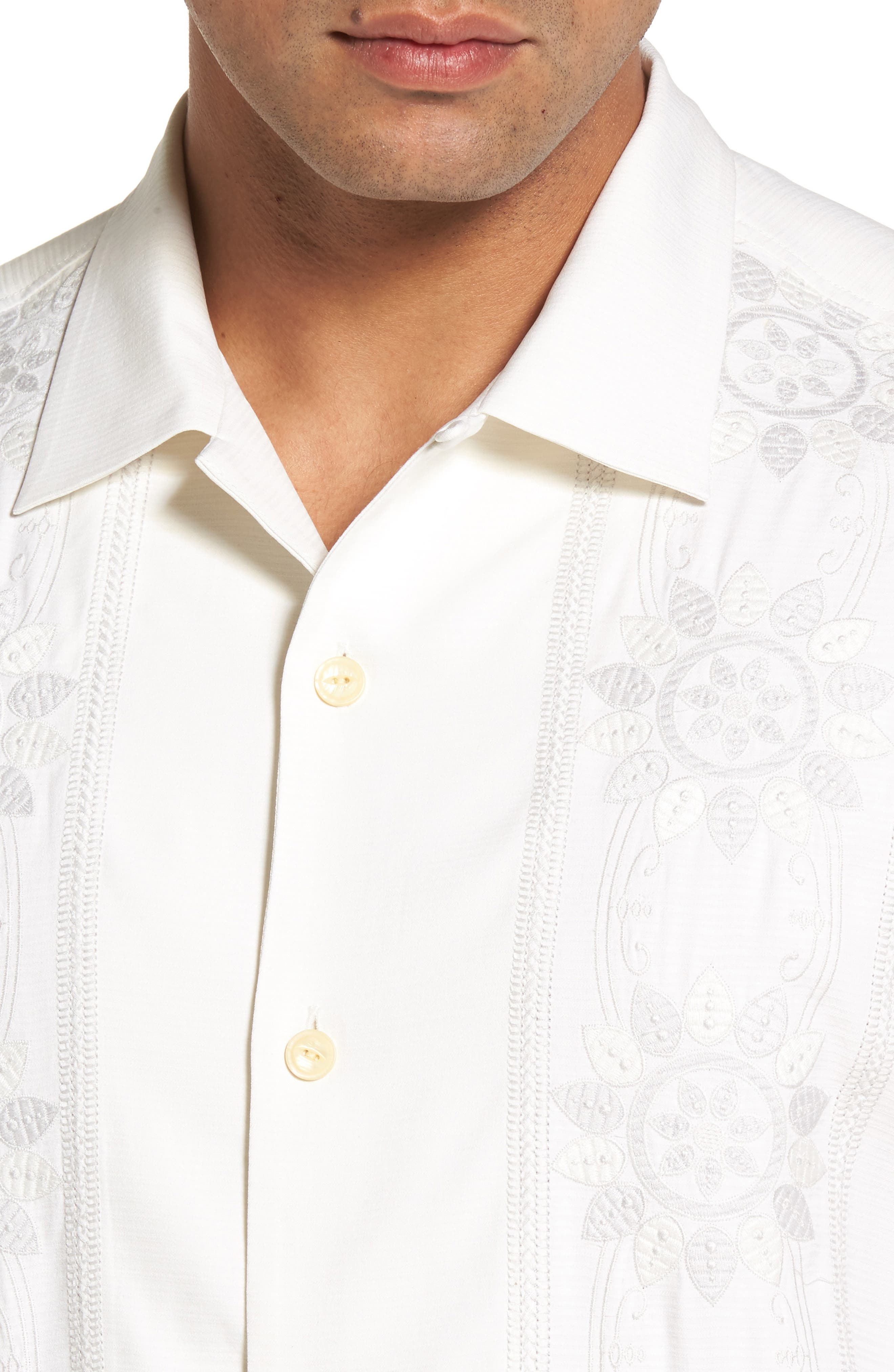 Tangier Tiles Embroidered Silk Woven Shirt,                             Alternate thumbnail 4, color,