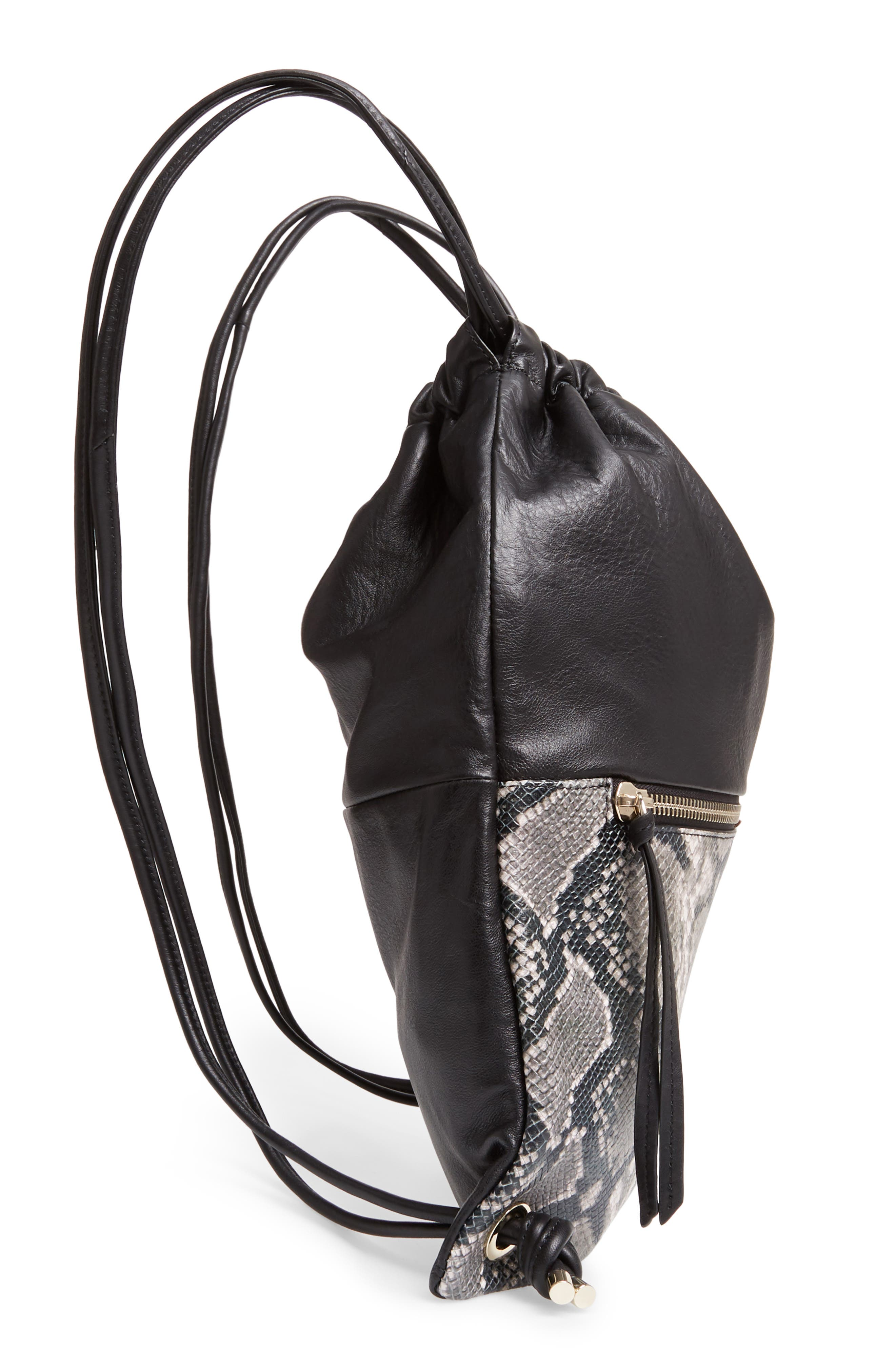Kira Leather Backpack,                             Alternate thumbnail 5, color,                             BLACK