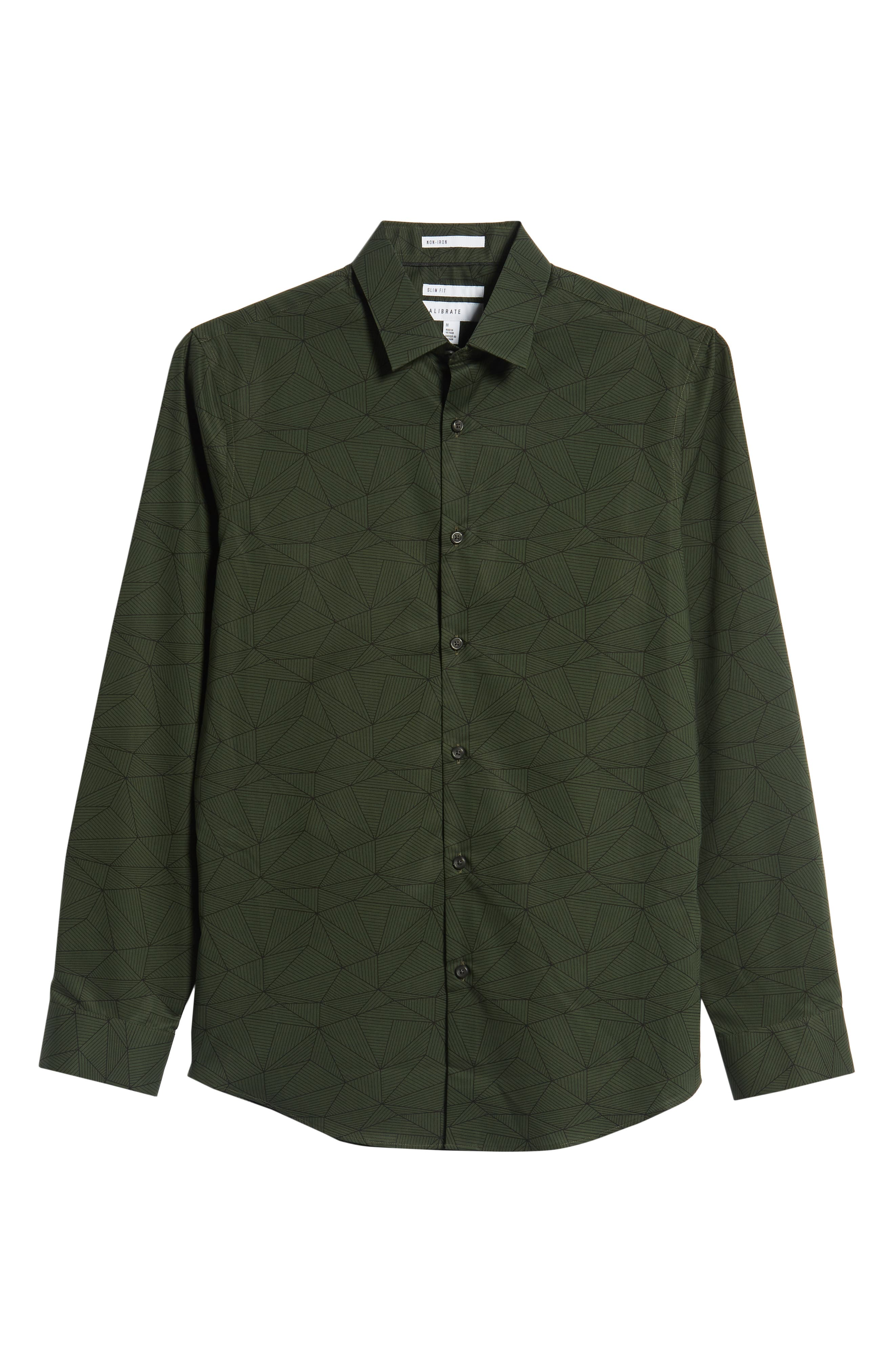Non-Iron Geo Print Sport Shirt,                             Alternate thumbnail 5, color,                             GREEN FOREST LINEAR