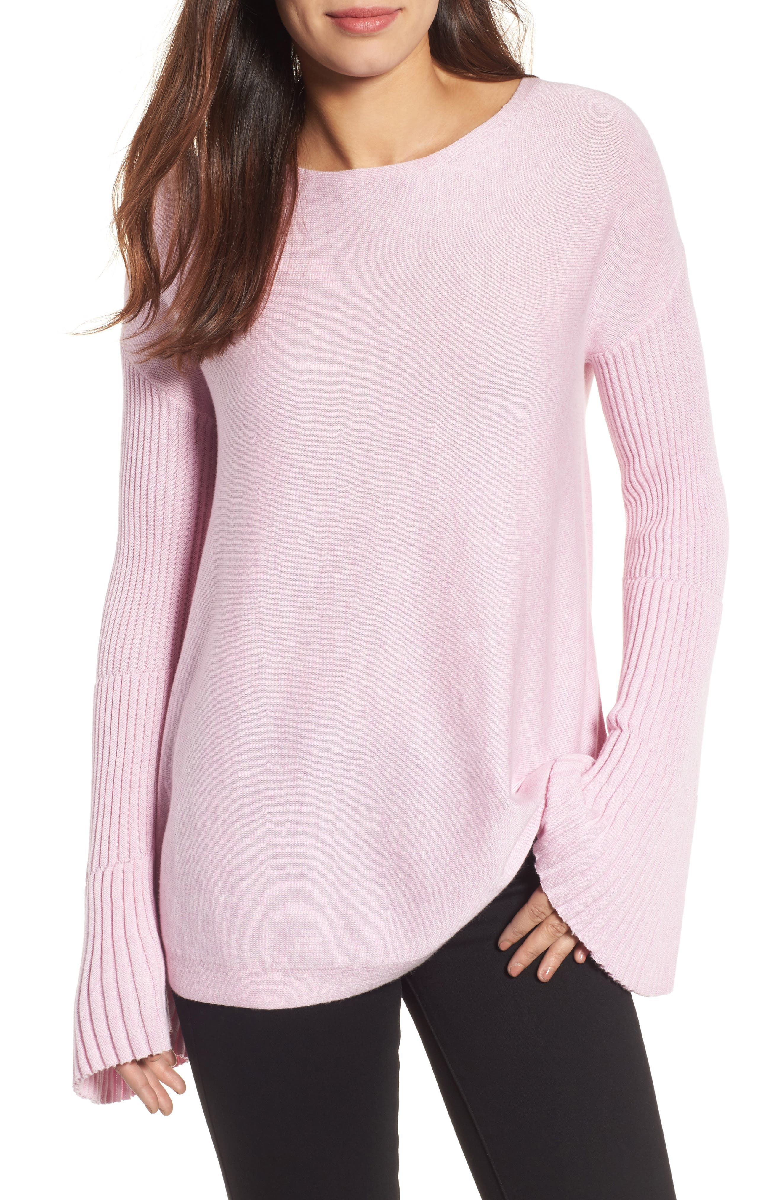 Bell Sleeve Ribbed Sweater,                             Main thumbnail 8, color,