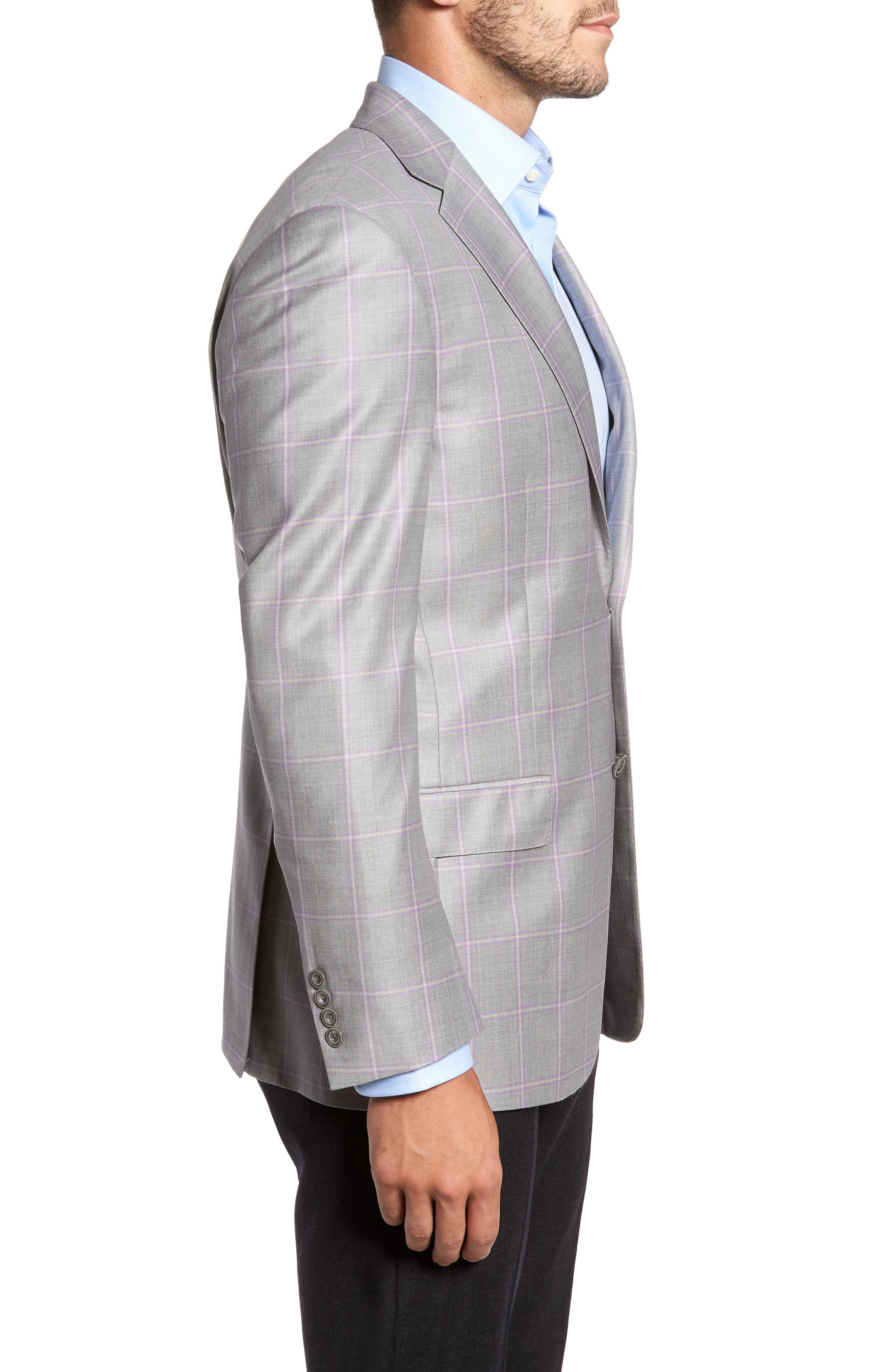 Classic Fit Windowpane Wool Sport Coat,                             Alternate thumbnail 3, color,                             050
