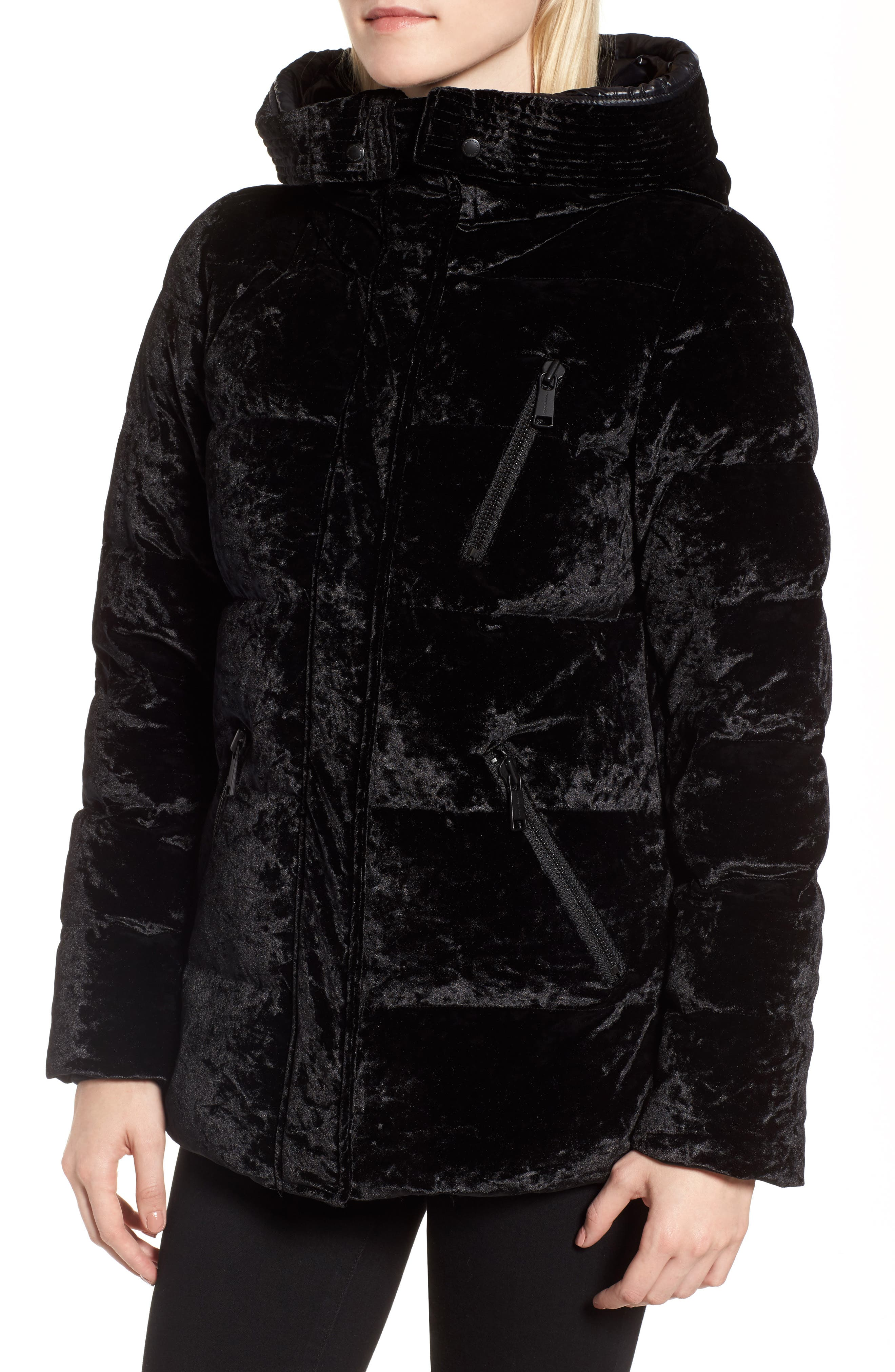 Hooded Down Jacket with Genuine Fox Fur Trim,                             Alternate thumbnail 4, color,                             001