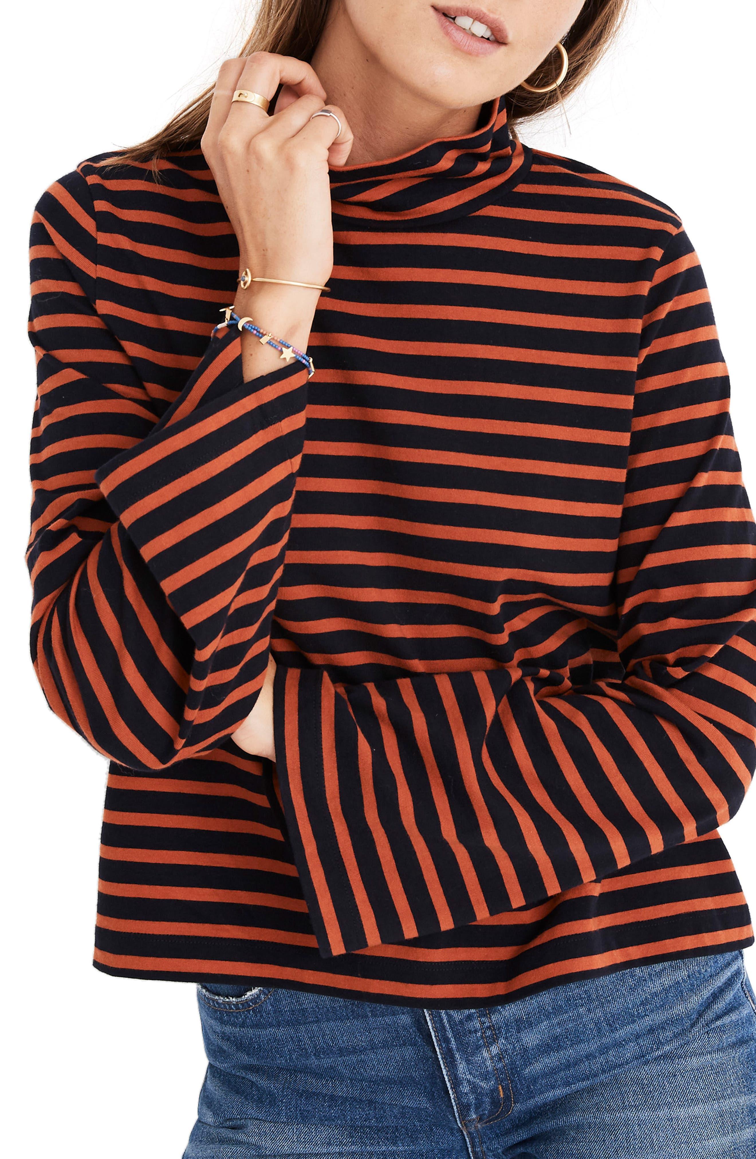 MADEWELL Stripe Wide Sleeve Turtleneck, Main, color, 400