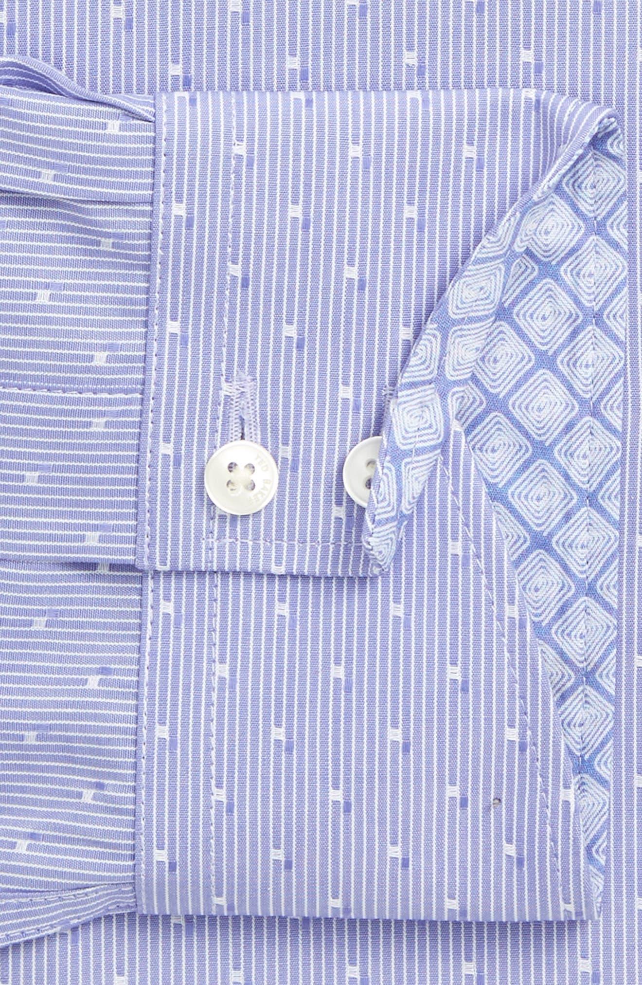 Steam Trim Fit Stripe Dress Shirt,                             Alternate thumbnail 5, color,