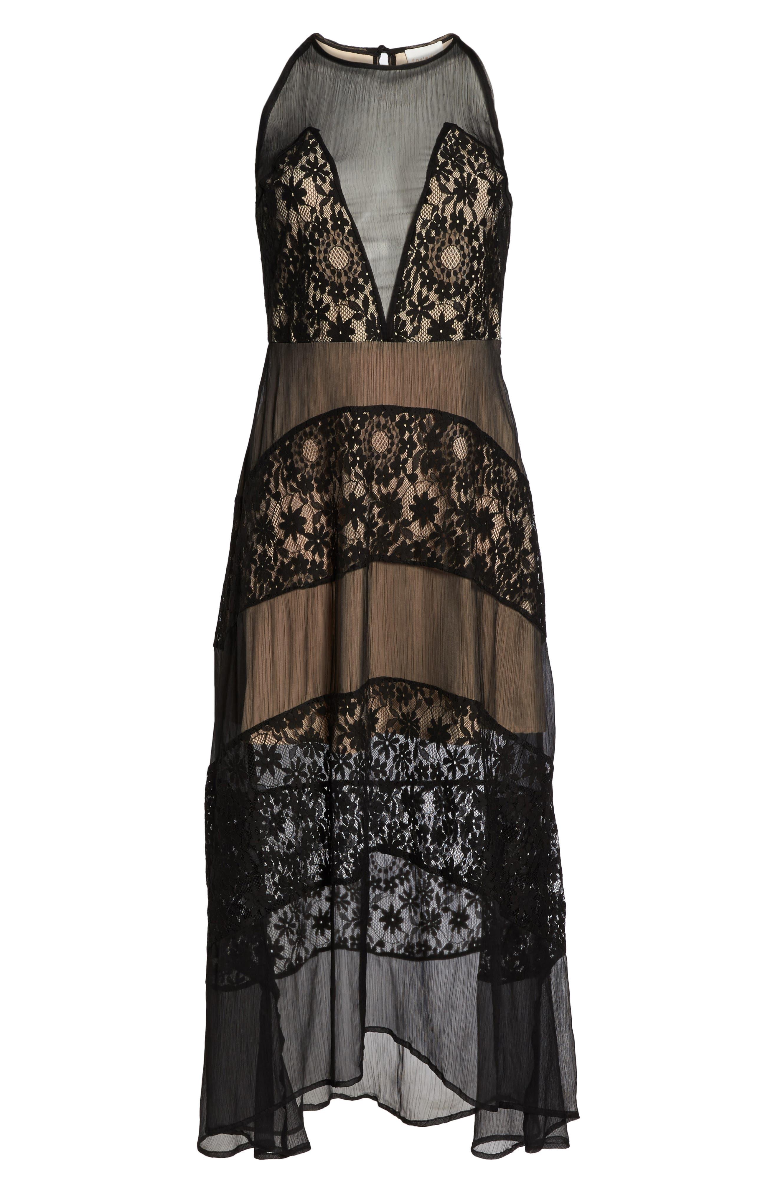 Tristan Lace & Chiffon Maxi Dress,                             Alternate thumbnail 6, color,                             001