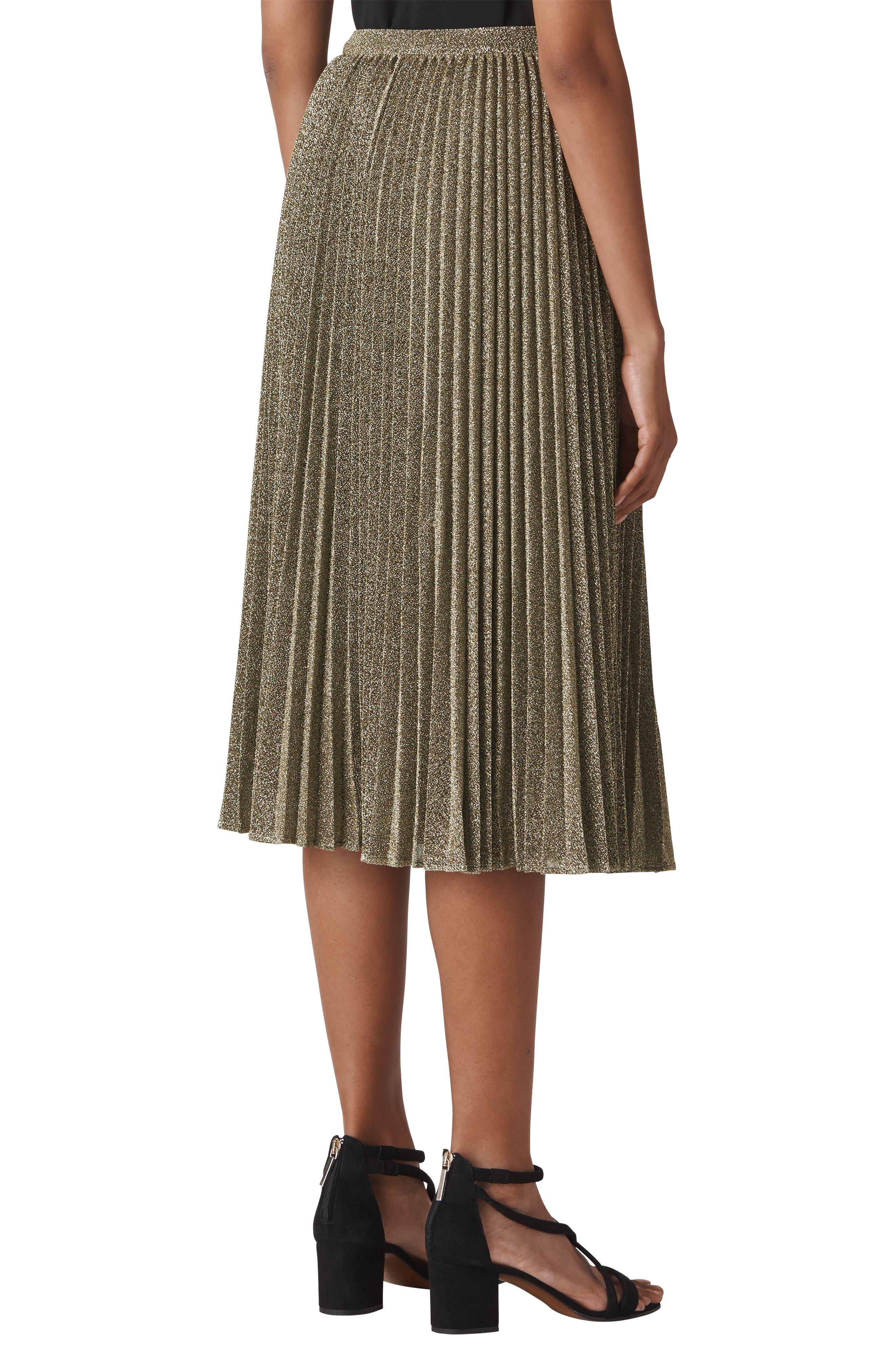 Sparkle Pleated Midi Skirt,                             Alternate thumbnail 2, color,                             GOLD