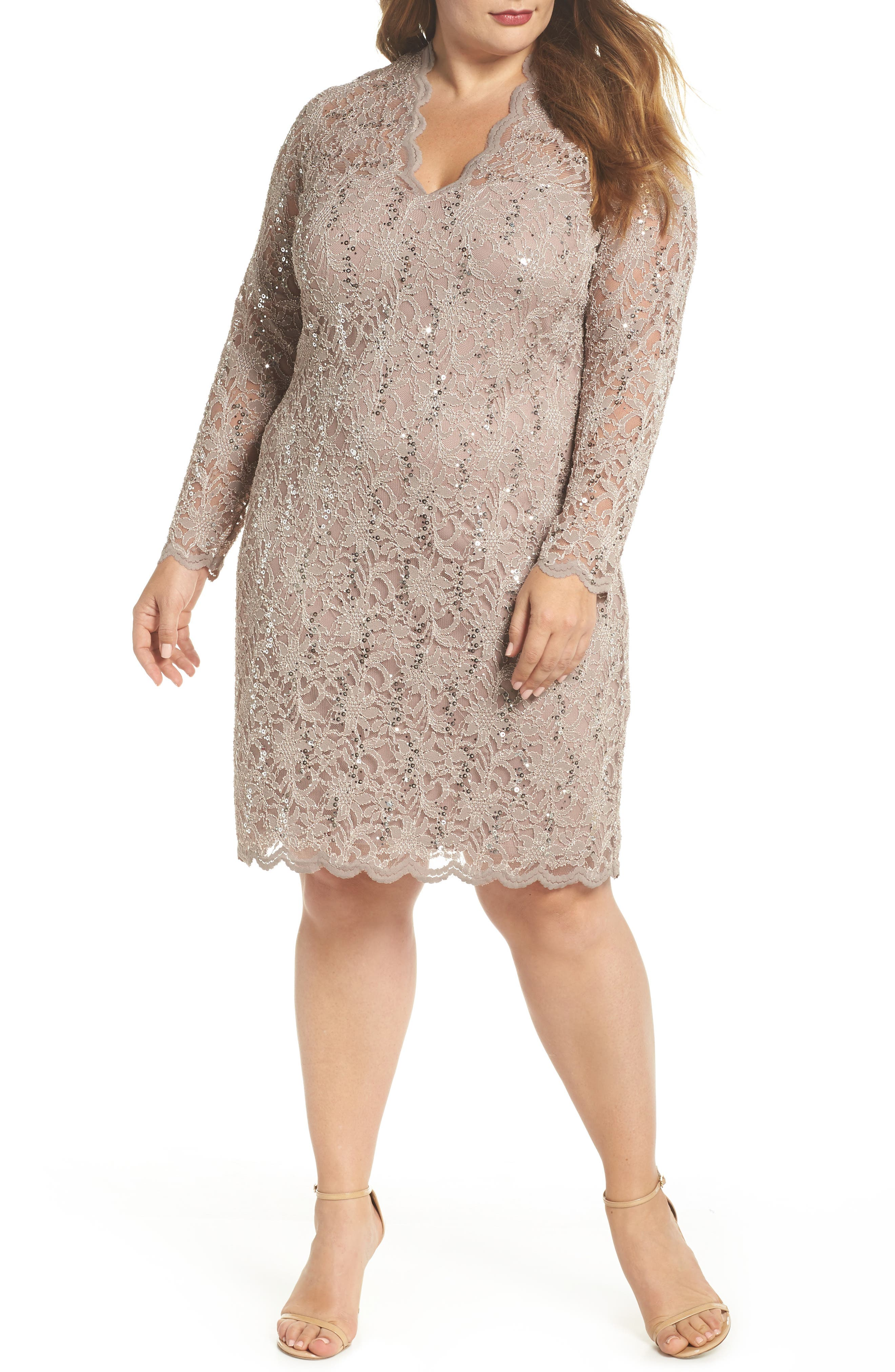 Sequin Stretch Lace Sheath Dress,                         Main,                         color, TAUPE