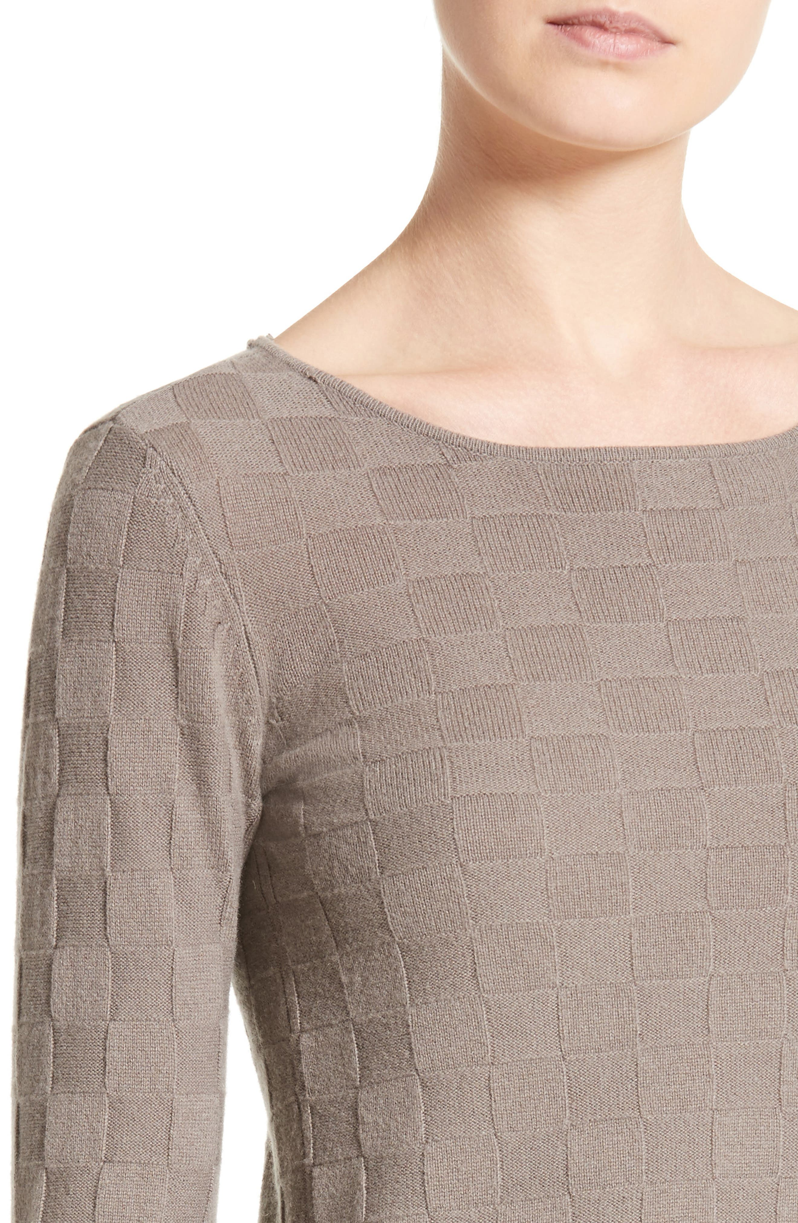 Checkerboard Cashmere Sweater,                             Alternate thumbnail 4, color,                             250