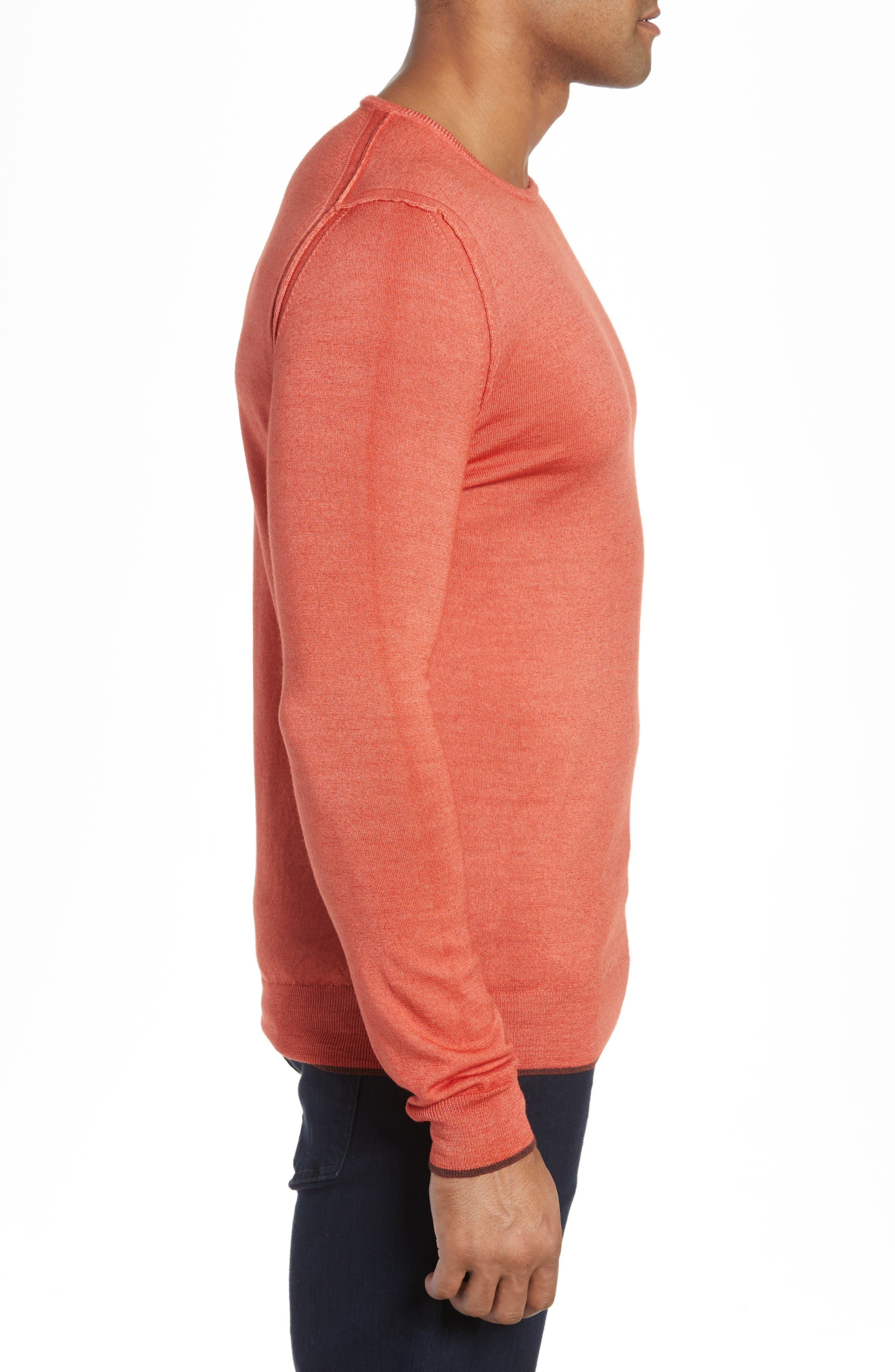 Trim Fit Crewneck Wool Sweater,                             Alternate thumbnail 3, color,                             ORANGE