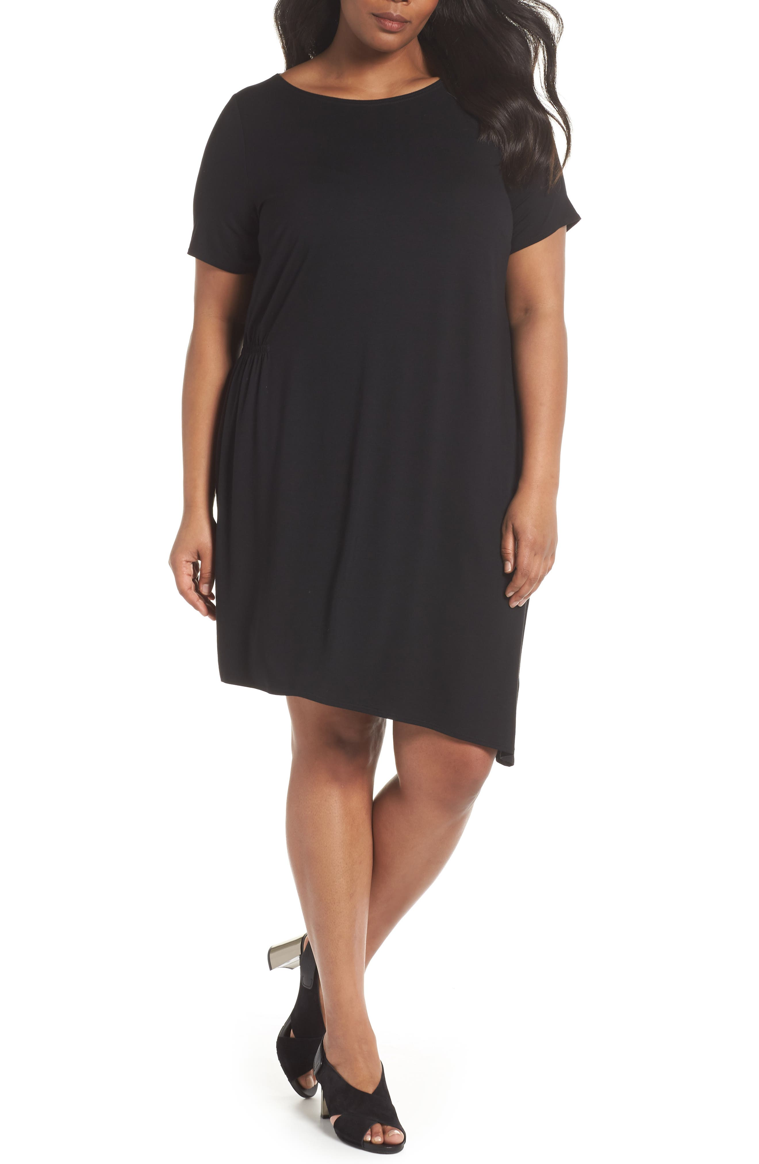 Asymmetrical Stretch Jersey Shift Dress,                             Main thumbnail 1, color,                             001