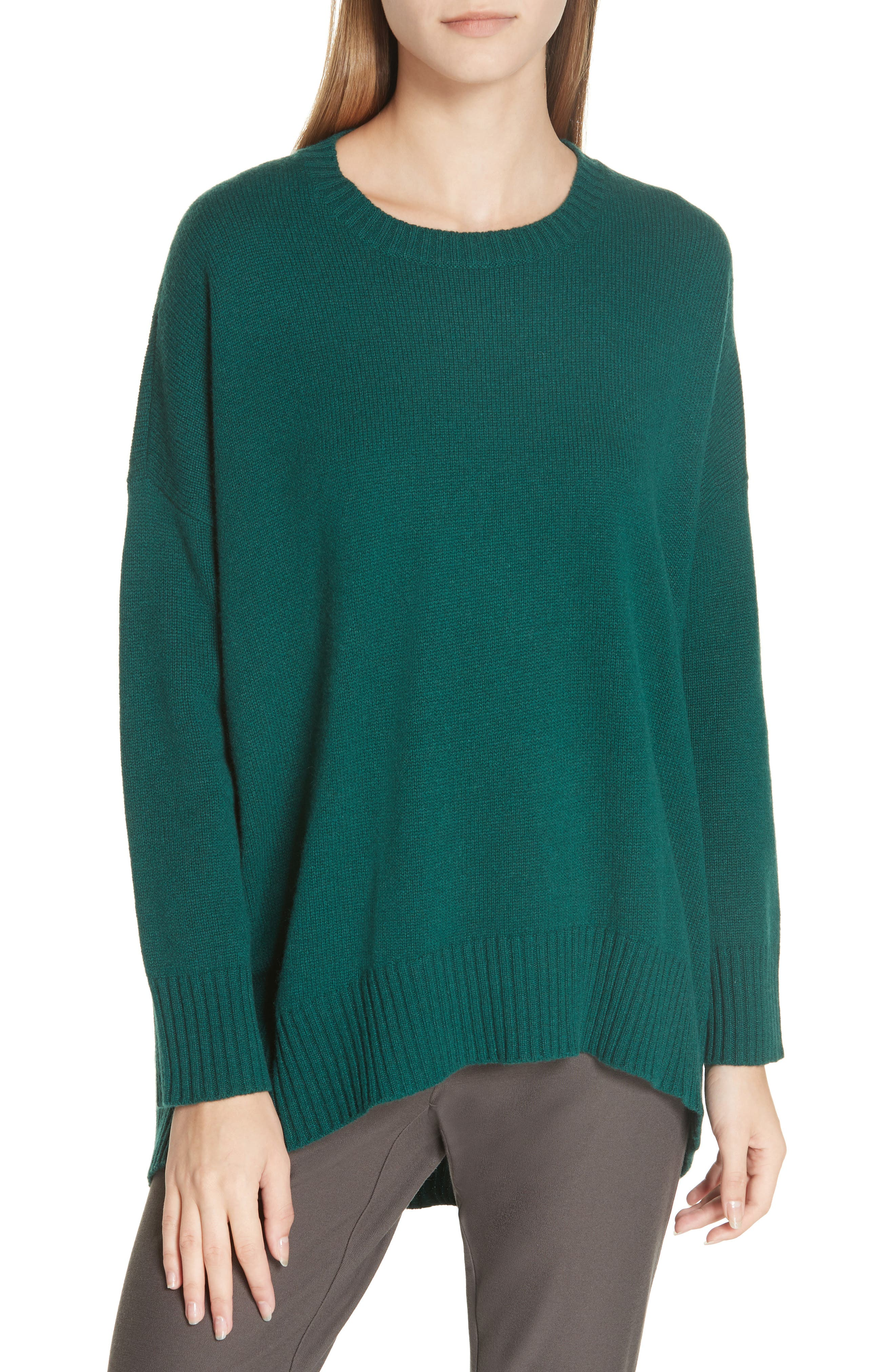 Cashmere & Wool Blend Oversize Sweater,                         Main,                         color, PINE