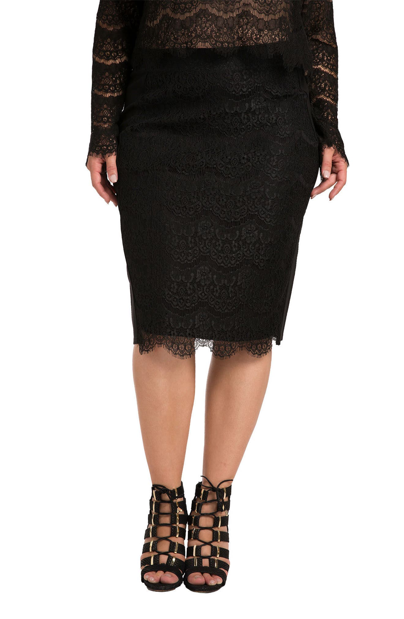 Tori Lace Overlay Pencil Skirt,                             Main thumbnail 1, color,                             BLACK