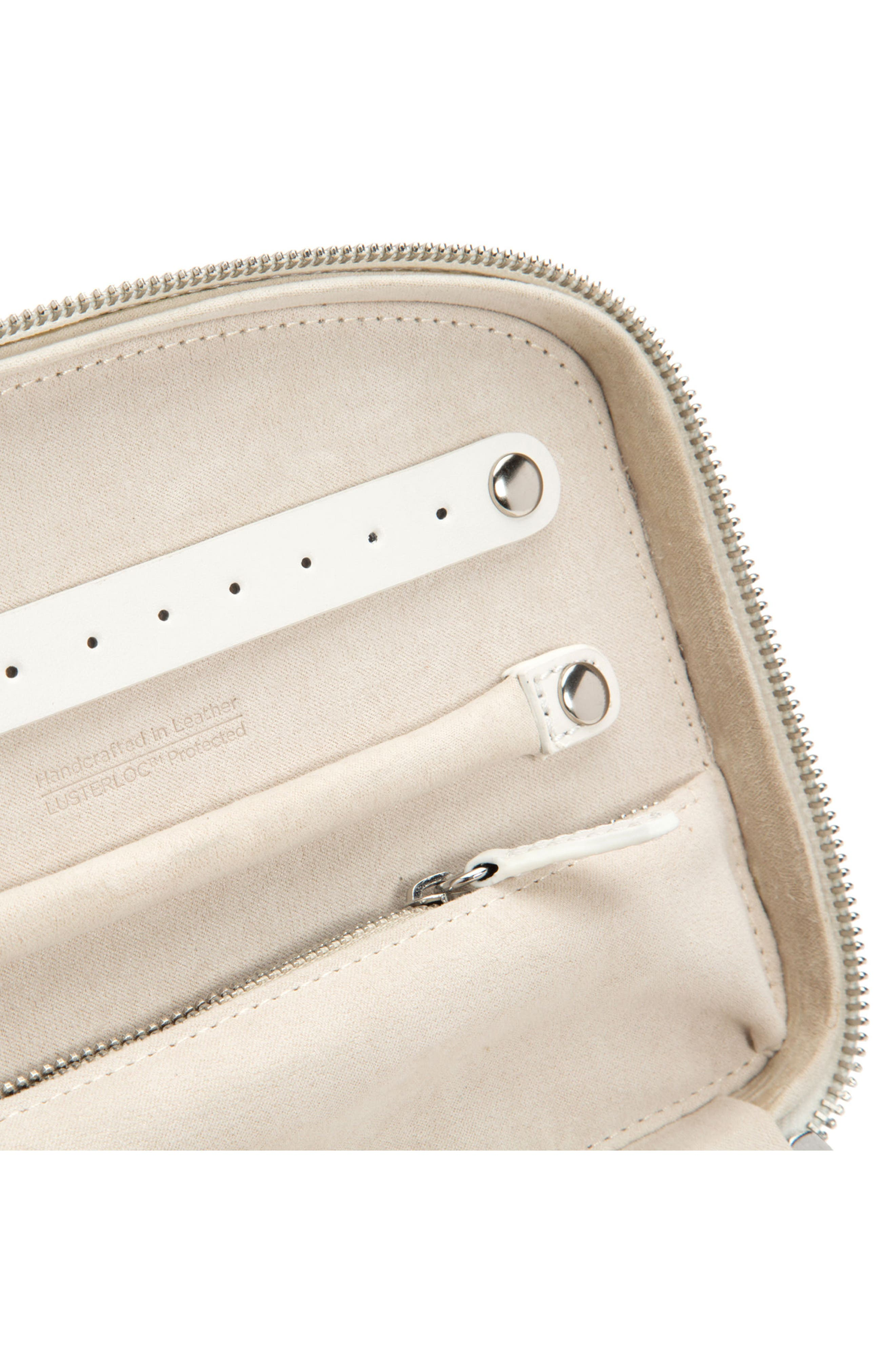Blossom Leather Travel Jewelry Case,                             Alternate thumbnail 3, color,                             IVORY