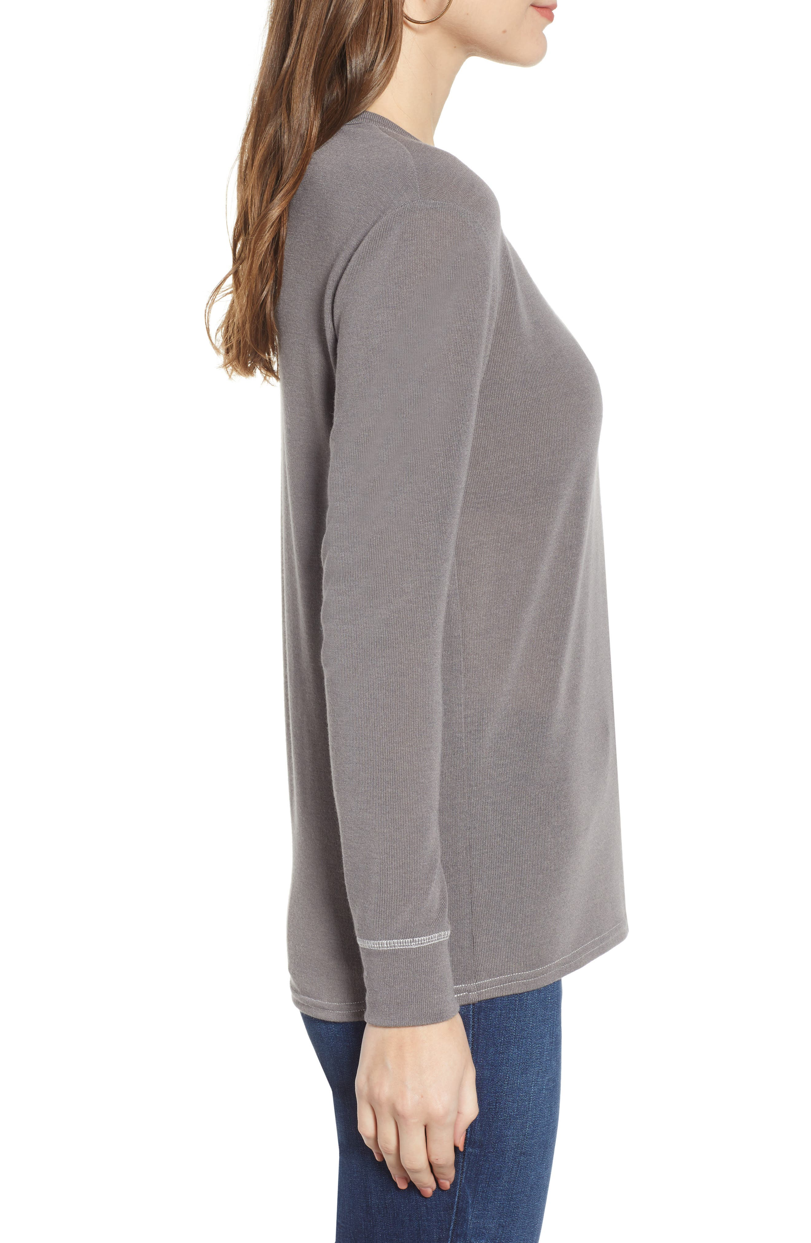 Ribbed U-Neck Top,                             Alternate thumbnail 3, color,                             GREY CHARCOAL