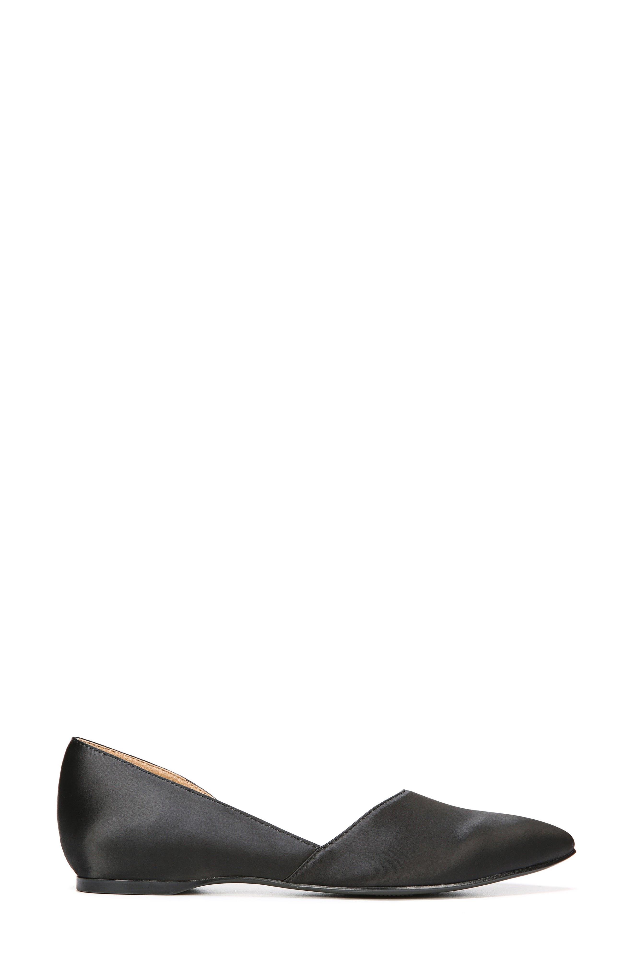Samantha Half d'Orsay Flat,                             Alternate thumbnail 3, color,                             BLACK SATIN FABRIC