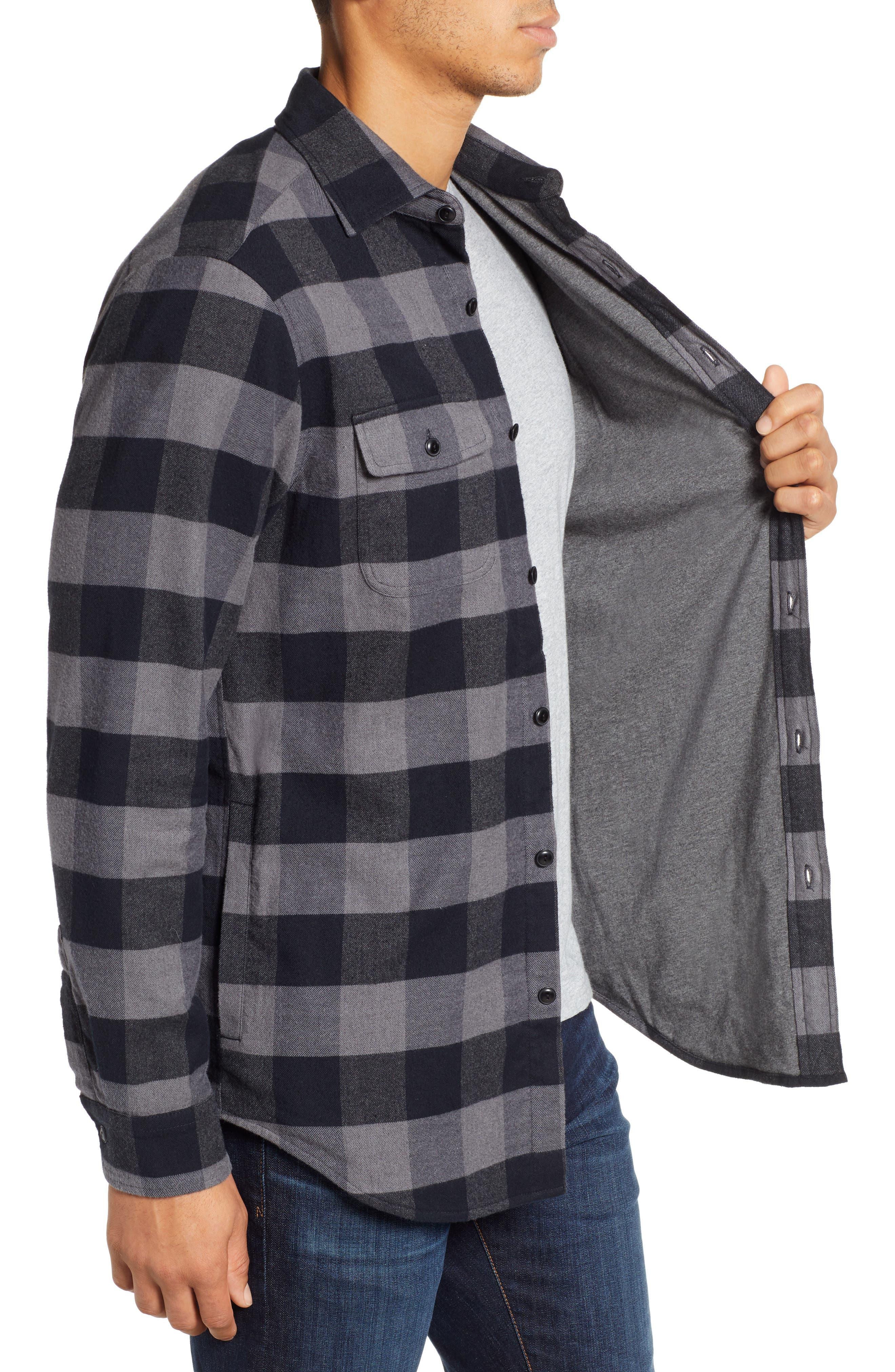 Deepwood Regular Fit Lined Flannel Shirt Jacket,                             Alternate thumbnail 4, color,                             EVENING SKY