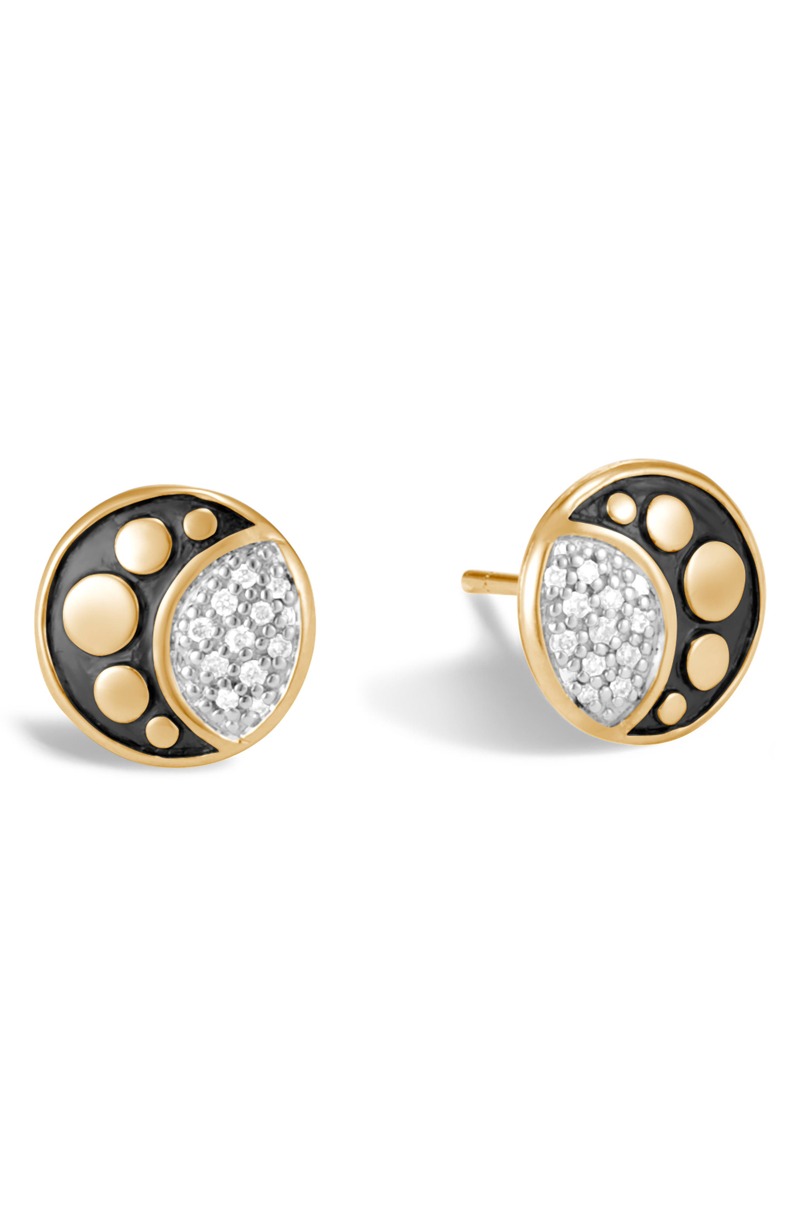 Dot Moon Diamond Pavé Stud Earrings,                         Main,                         color, GOLD/ DIAMOND
