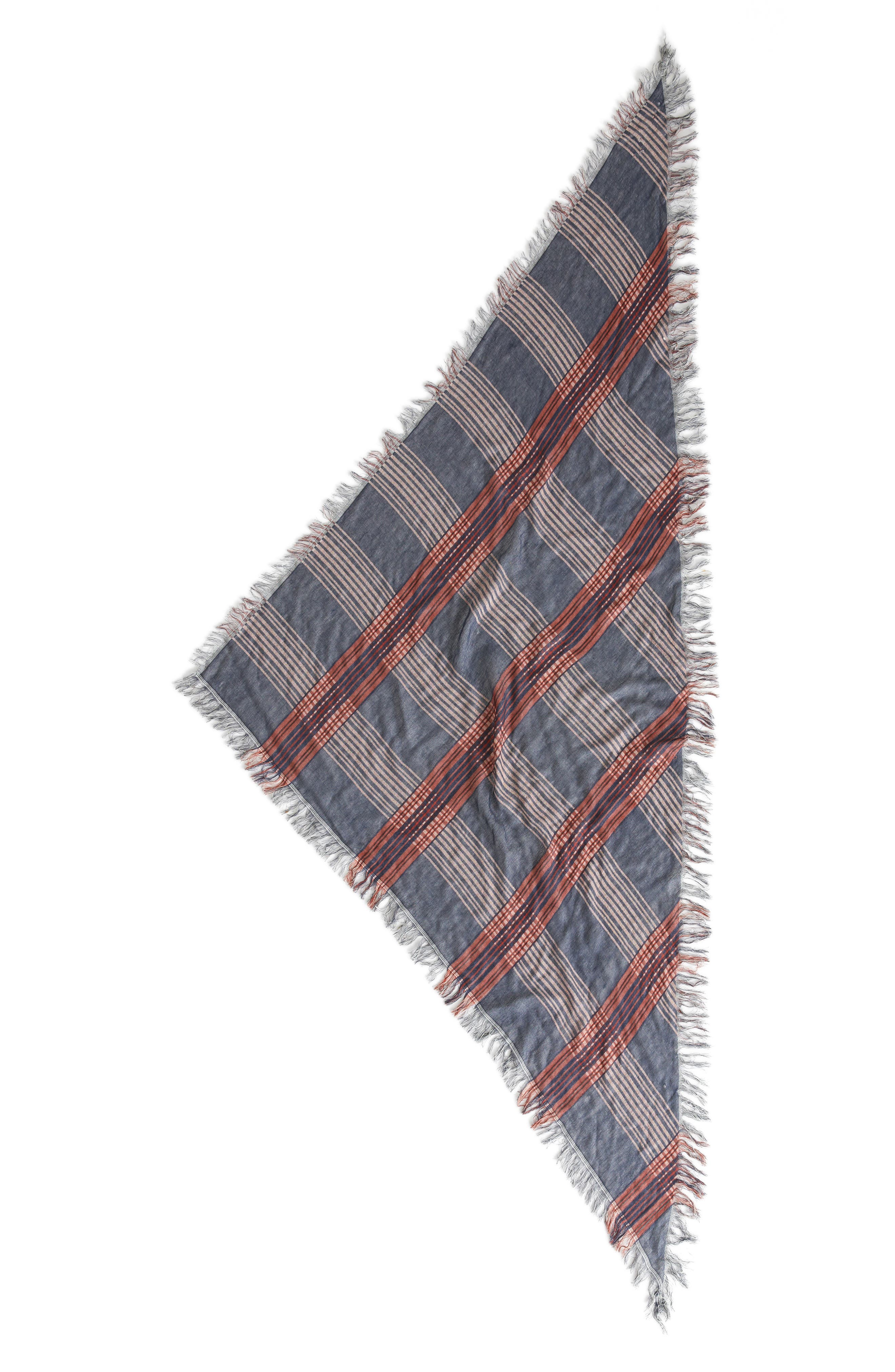 BP Dual Plaid Triangle Scarf,                             Alternate thumbnail 2, color,                             NAVY/IVORY