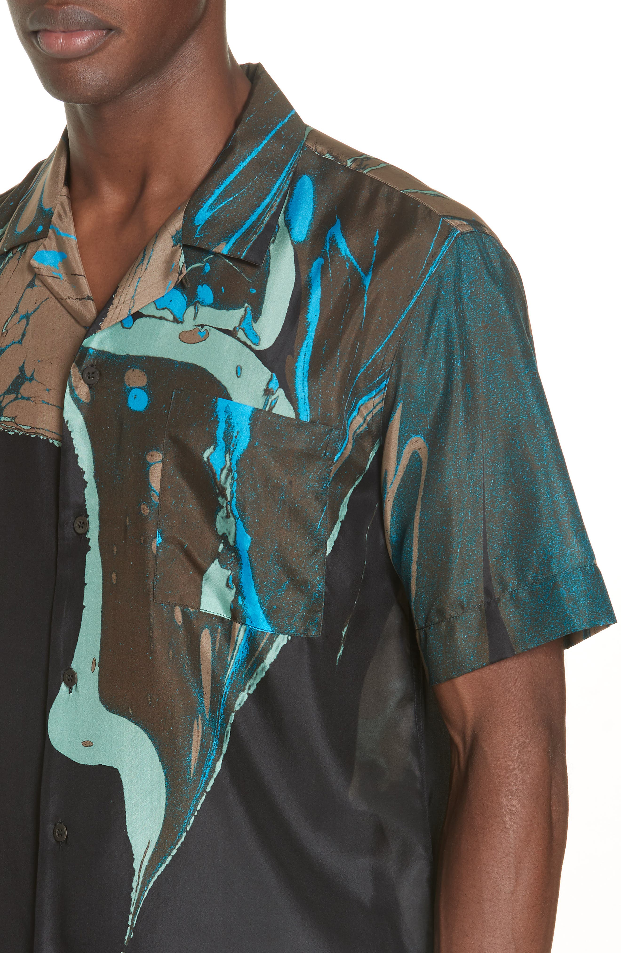 Carlton Print Silk Camp Shirt,                             Alternate thumbnail 4, color,                             BLACK