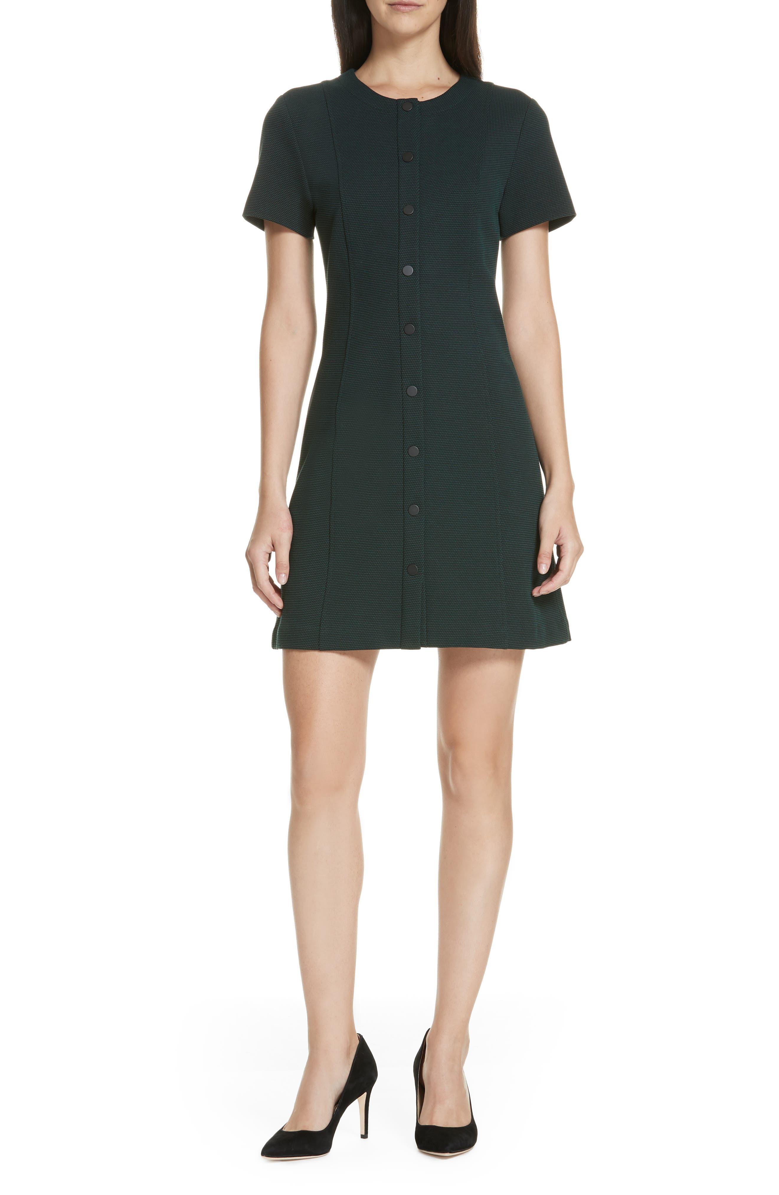 Easy Snap Textured Dress,                             Main thumbnail 1, color,                             GREEN POPLAR/ POP NAVY