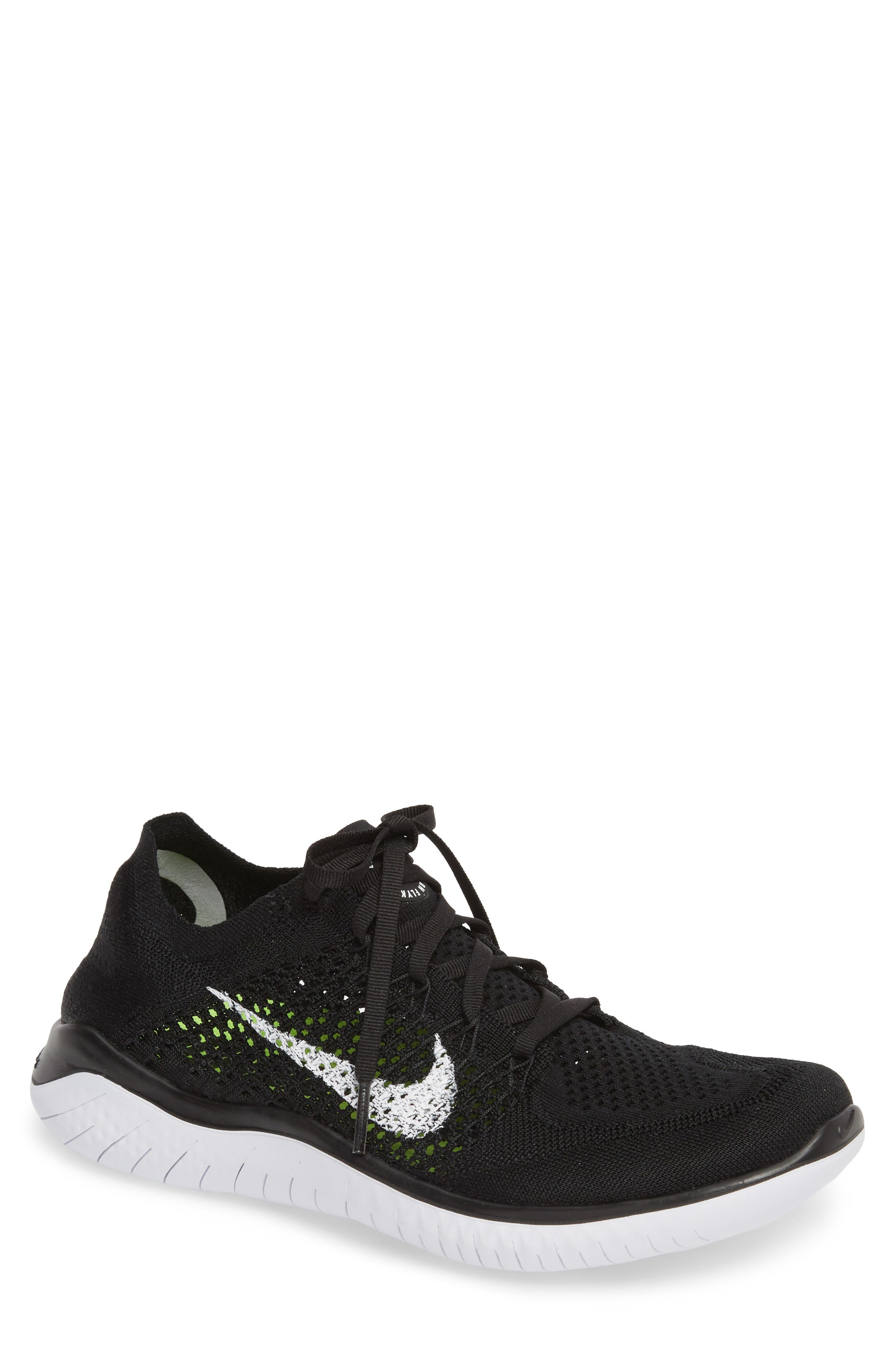 Free RN Flyknit 2018 Running Shoe, Main, color, BLACK/ WHITE