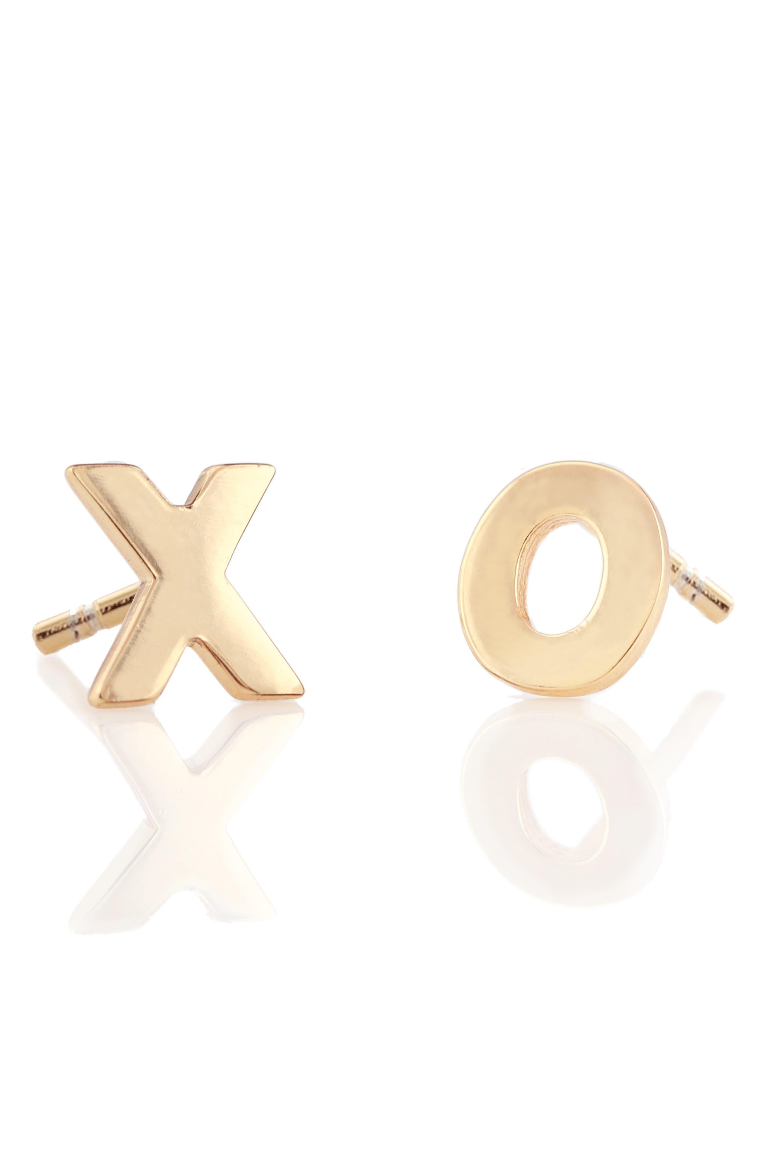 XO Stud Earrings,                         Main,                         color, GOLD