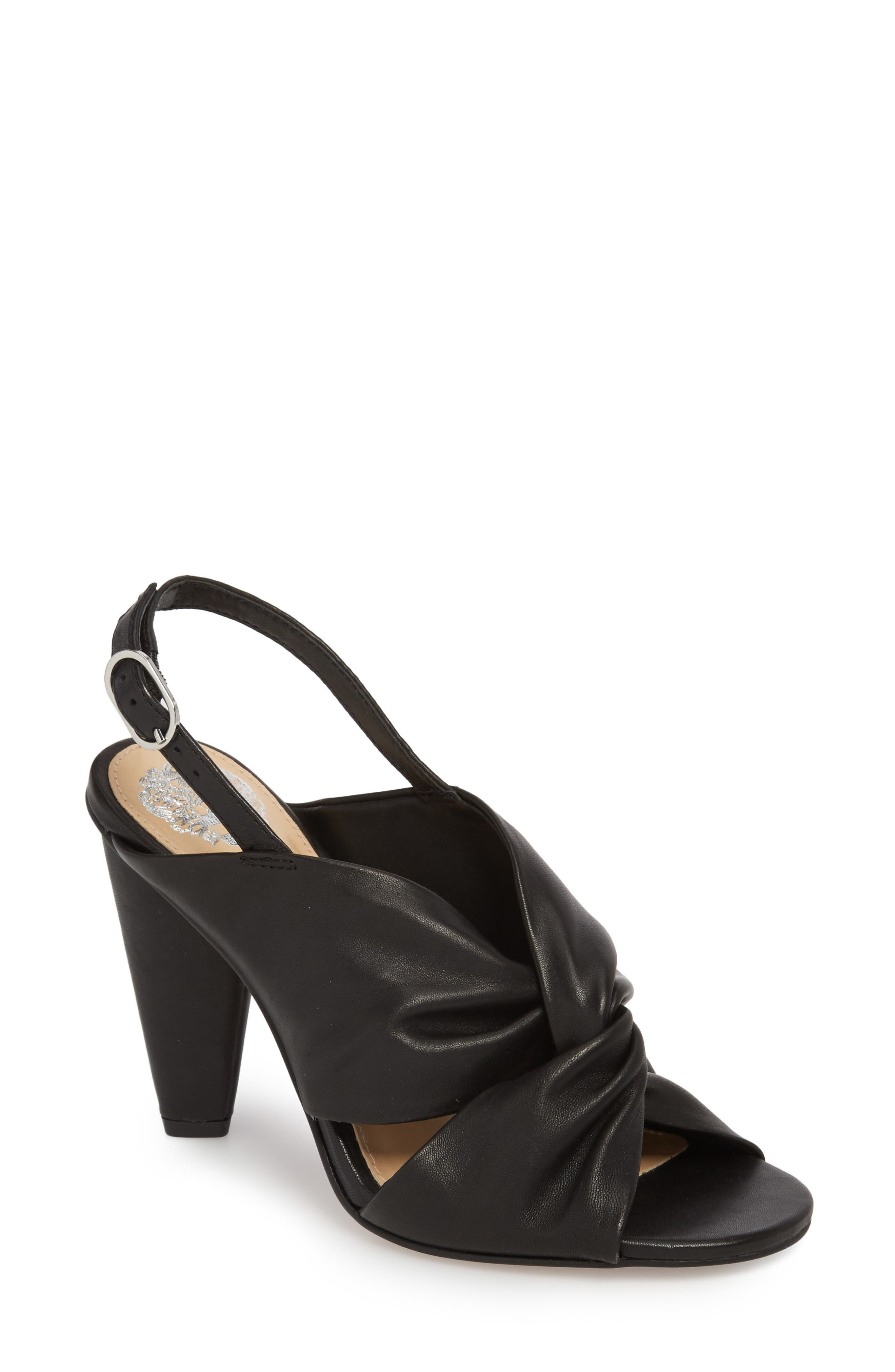 Kattie Slingback Sandal,                         Main,                         color, BLACK LEATHER