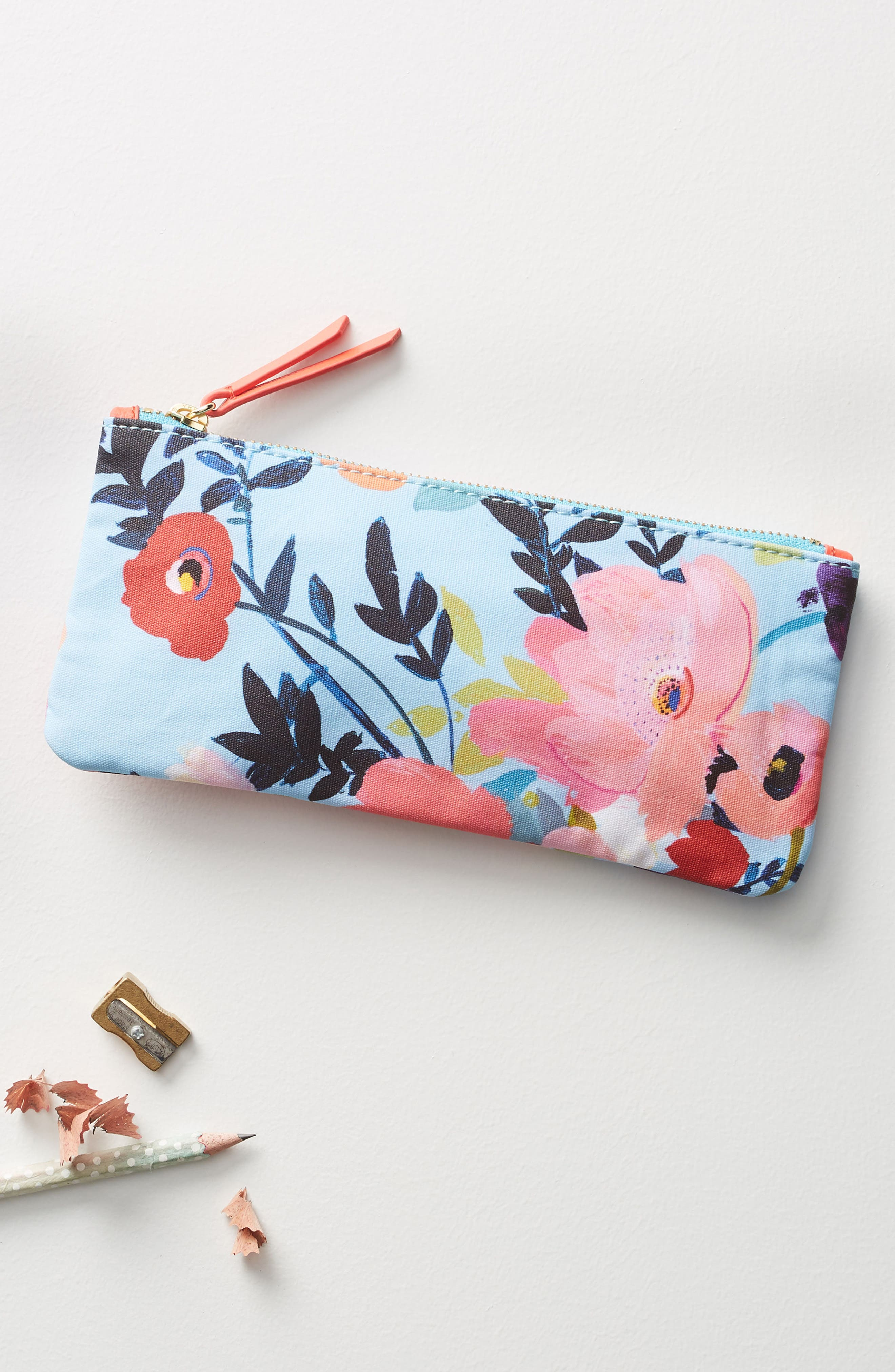 Picturesque Florals Pencil Pouch,                         Main,                         color, 400