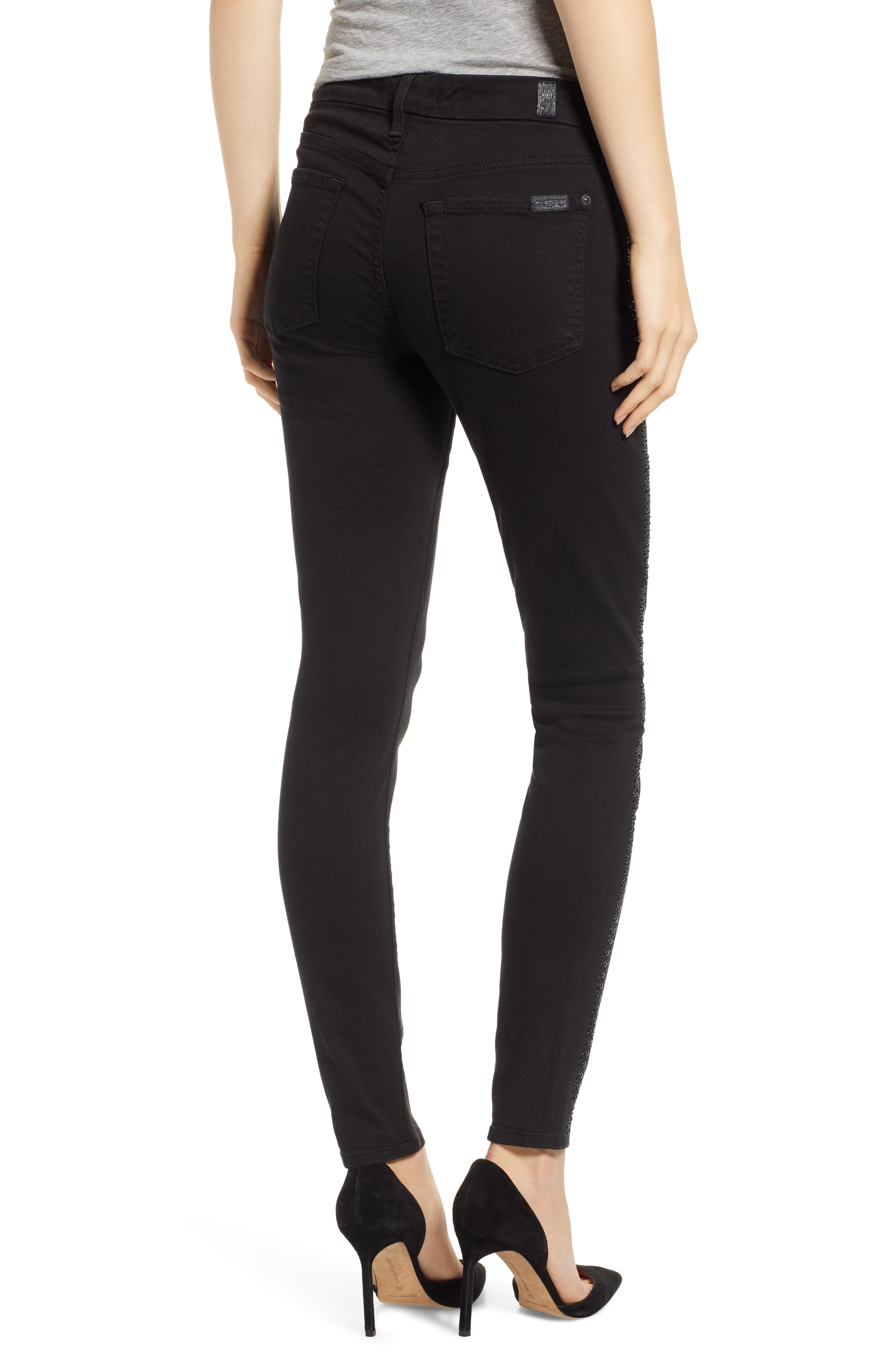 b(air) Coated Ankle Skinny Jeans,                             Alternate thumbnail 2, color,                             BLACK W/ CRYSTALS