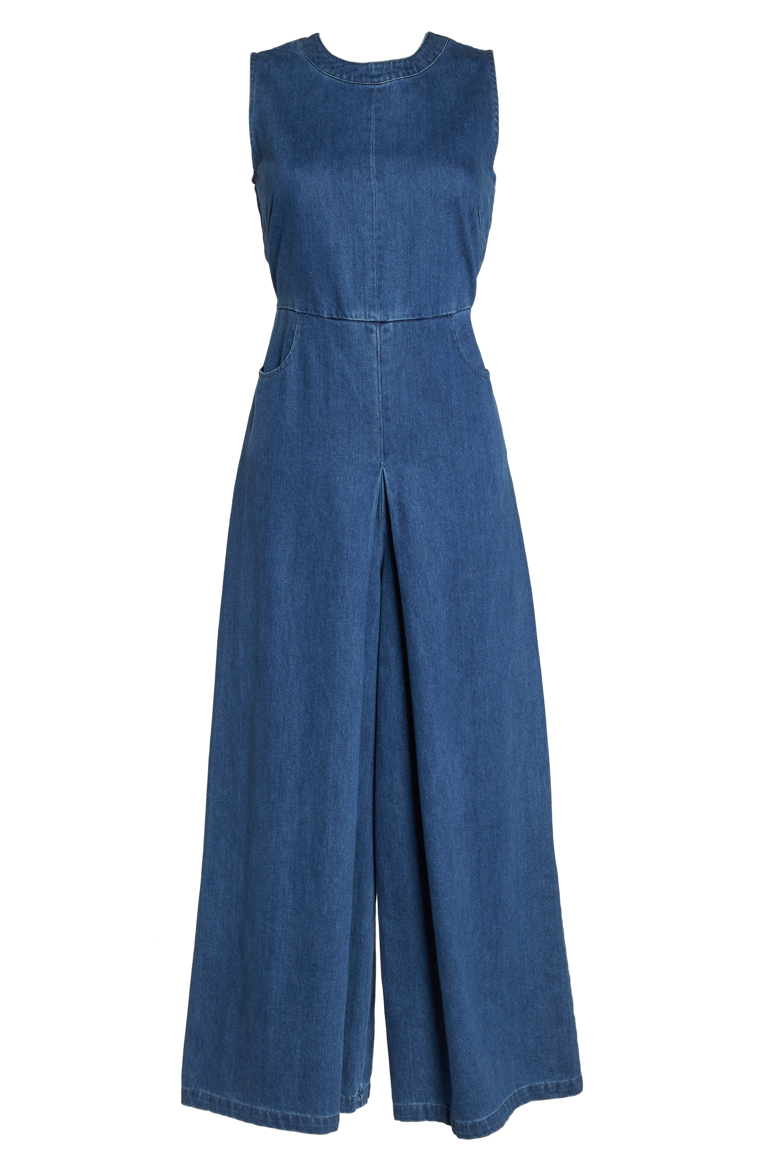 Hampton Denim Sleeveless Jumpsuit,                             Alternate thumbnail 6, color,                             400