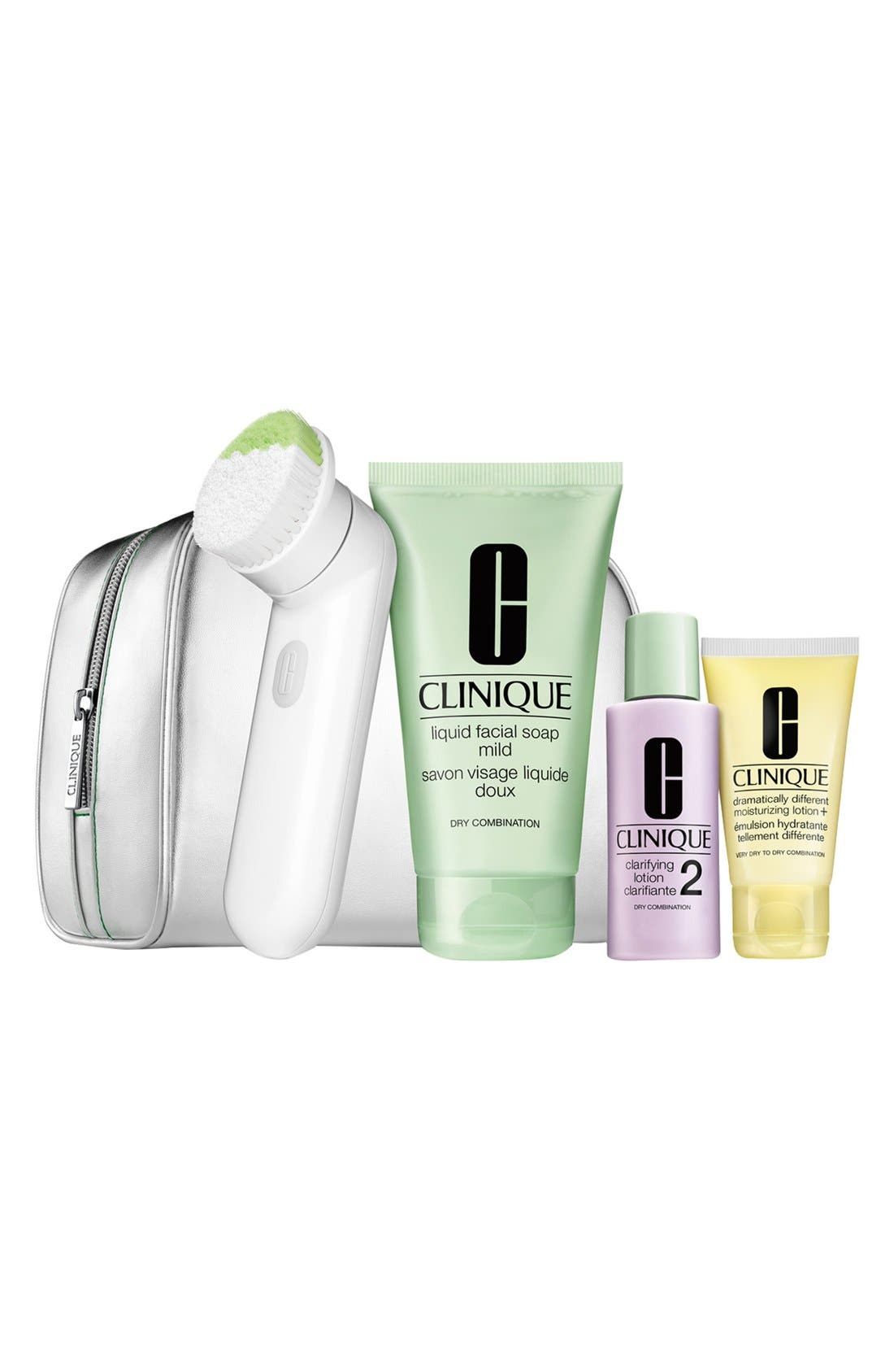 'Cleansing by Clinique' Sonic Skincare Set for Dry to Dry Combination Skin, Main, color, 001