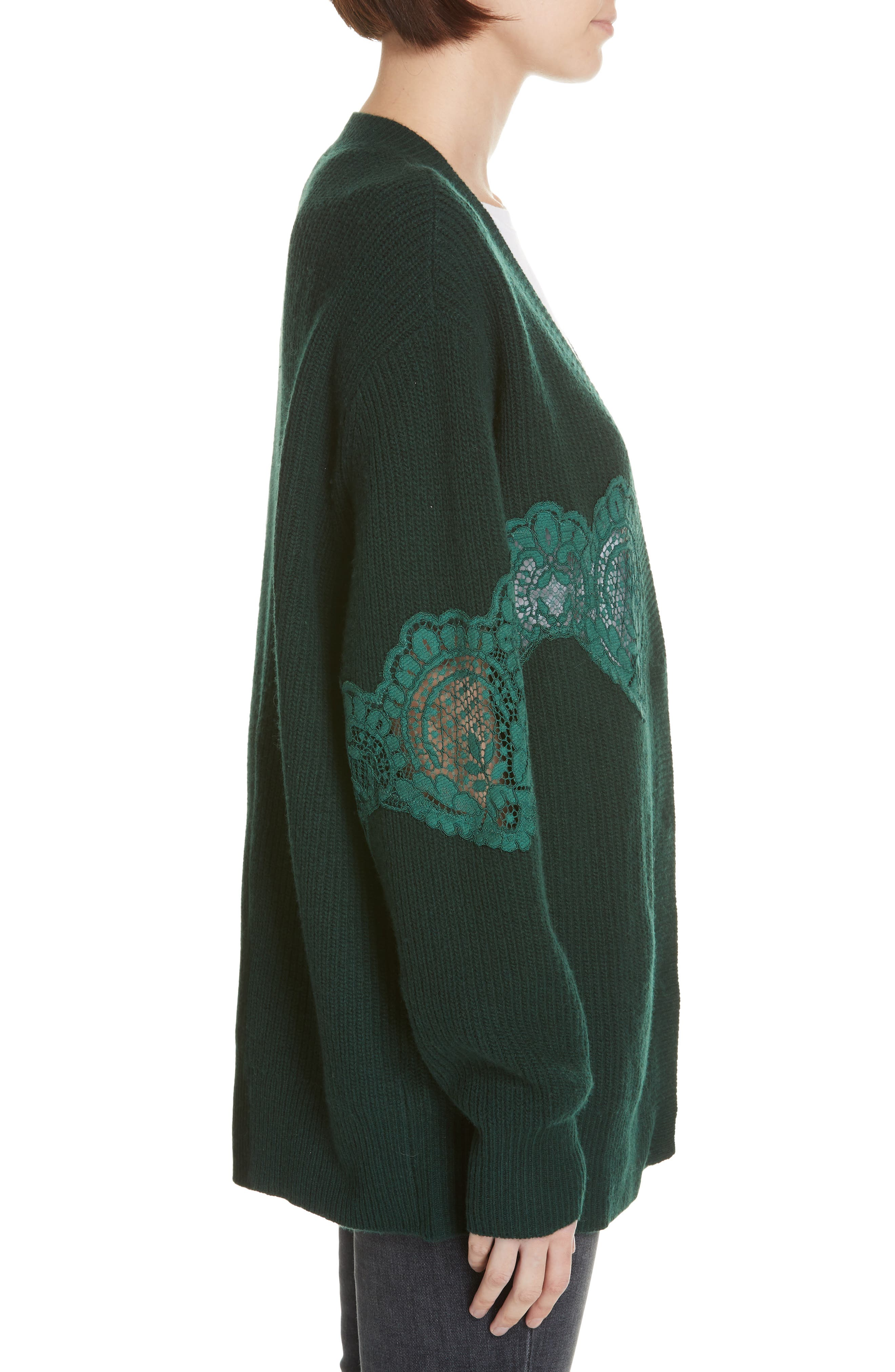 Tower Lace Inset Wool Blend Cardigan,                             Alternate thumbnail 3, color,                             BOTTLE GREEN
