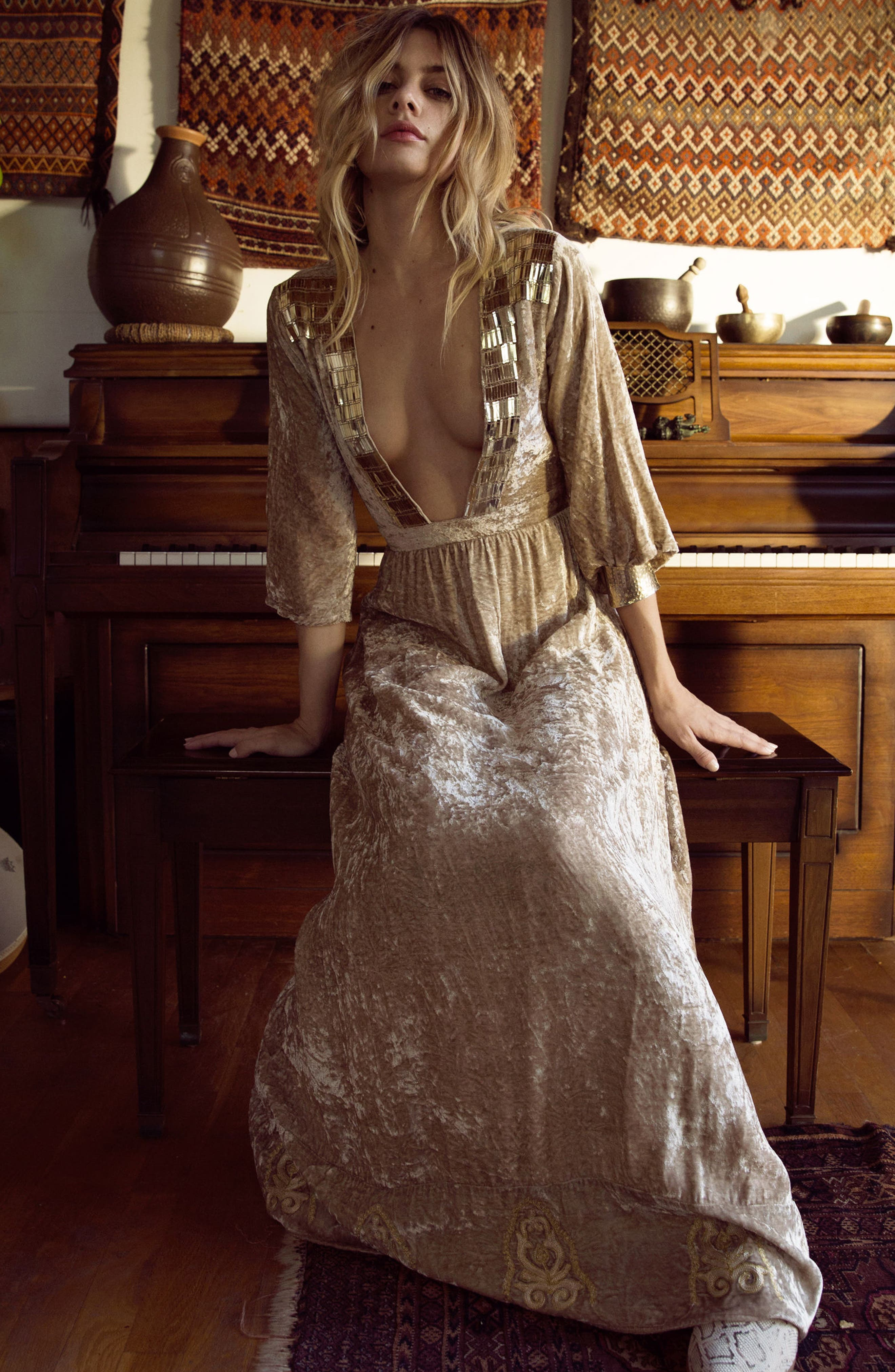 Romantic Visions Velvet Maxi Dress,                             Alternate thumbnail 7, color,