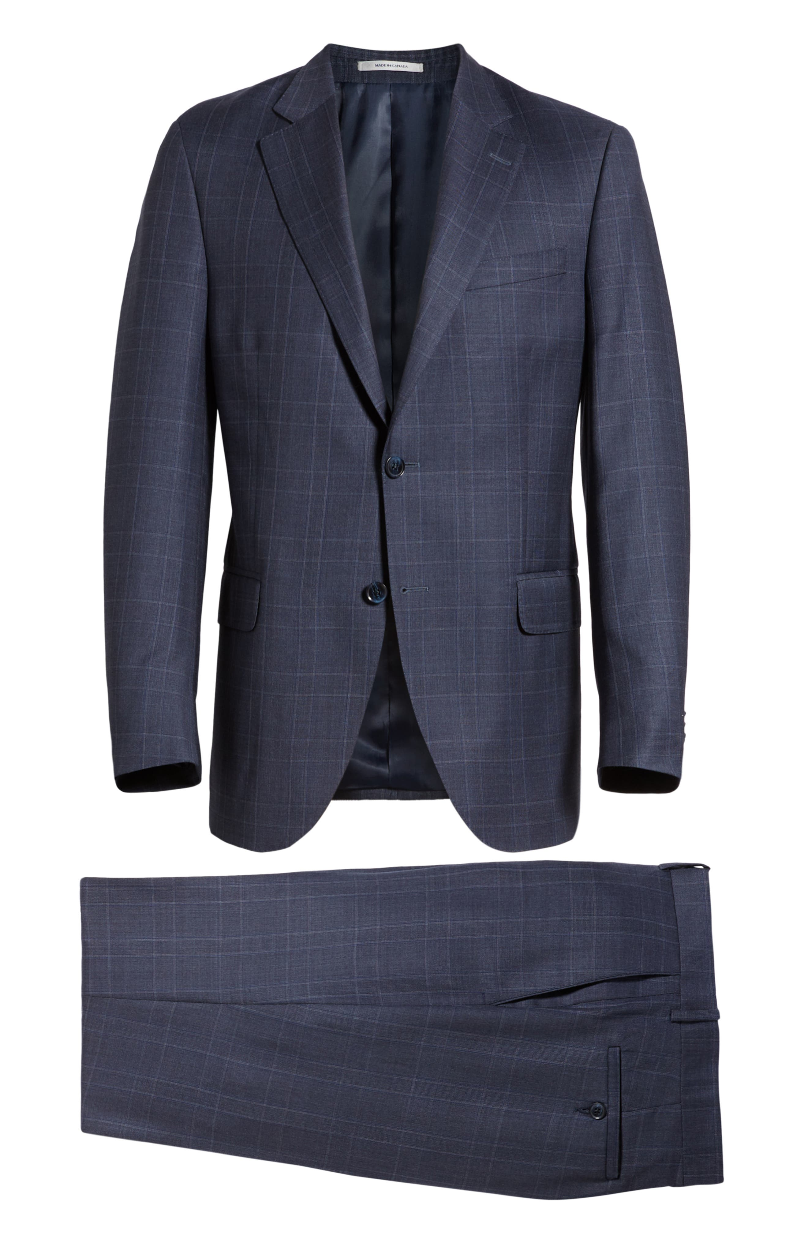 Flynn Classic Fit Plaid Wool Suit,                             Alternate thumbnail 8, color,                             BLUE