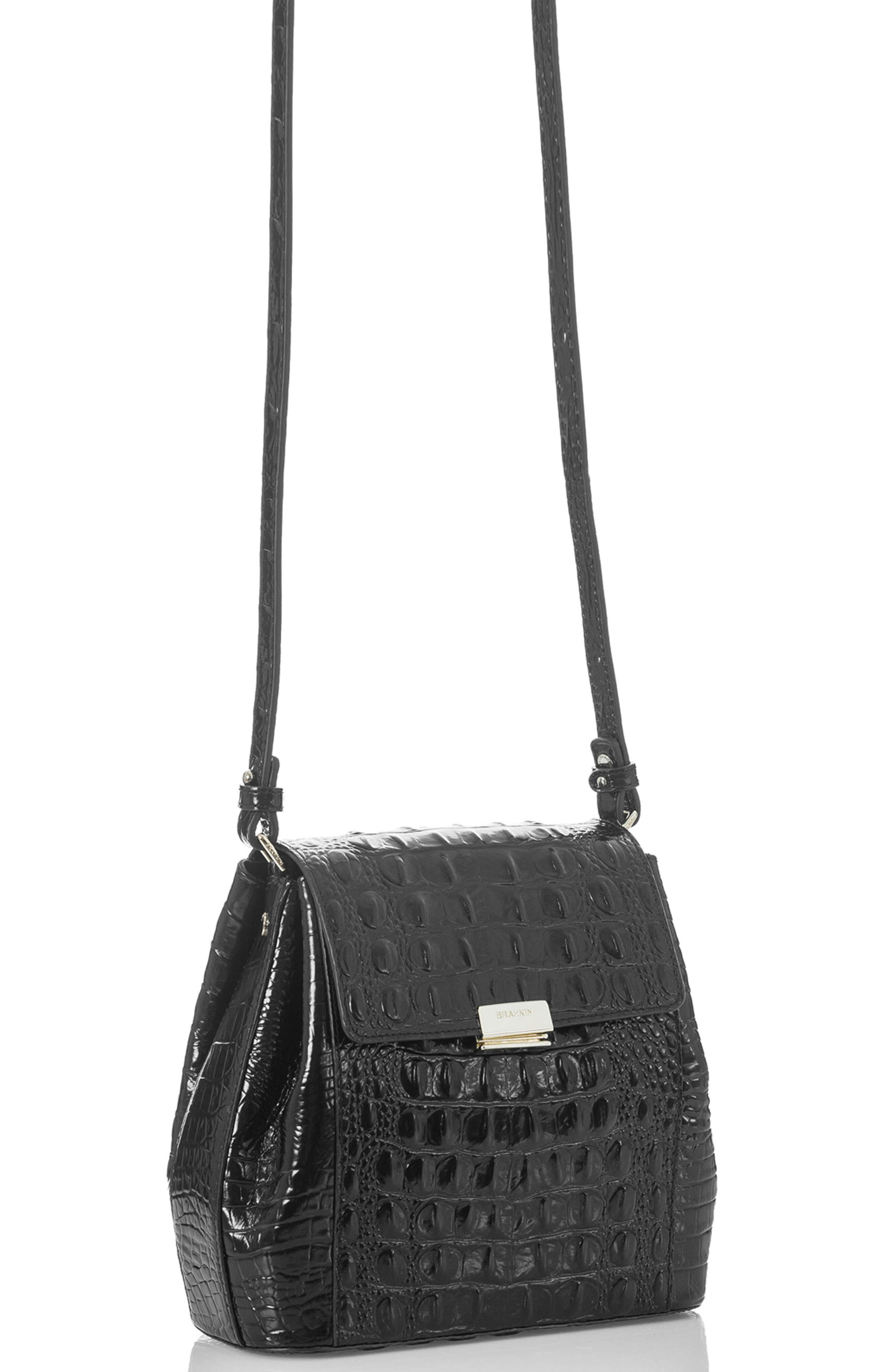 Margo Croc Embossed Leather Crossbody Bag,                             Alternate thumbnail 4, color,                             BLACK
