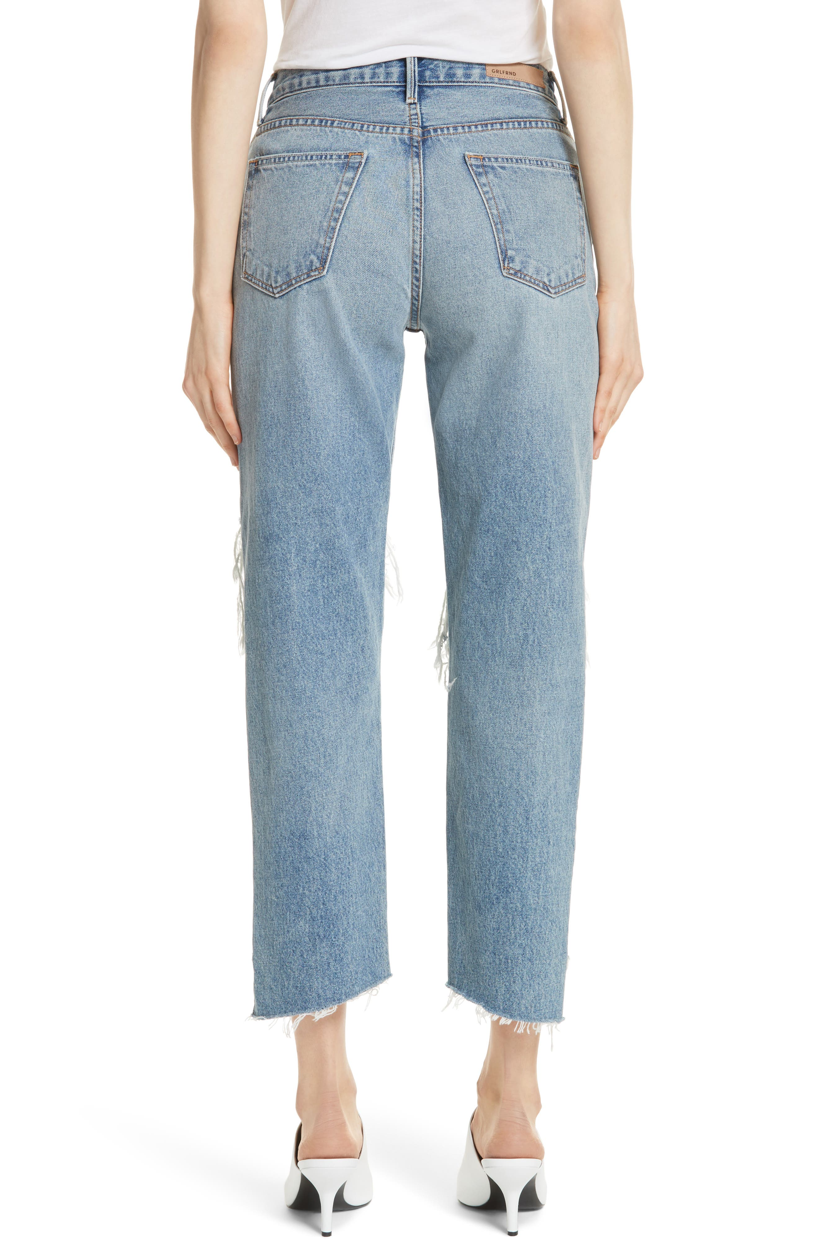 Helena Ripped Rigid High Waist Straight Jeans,                             Alternate thumbnail 2, color,                             487