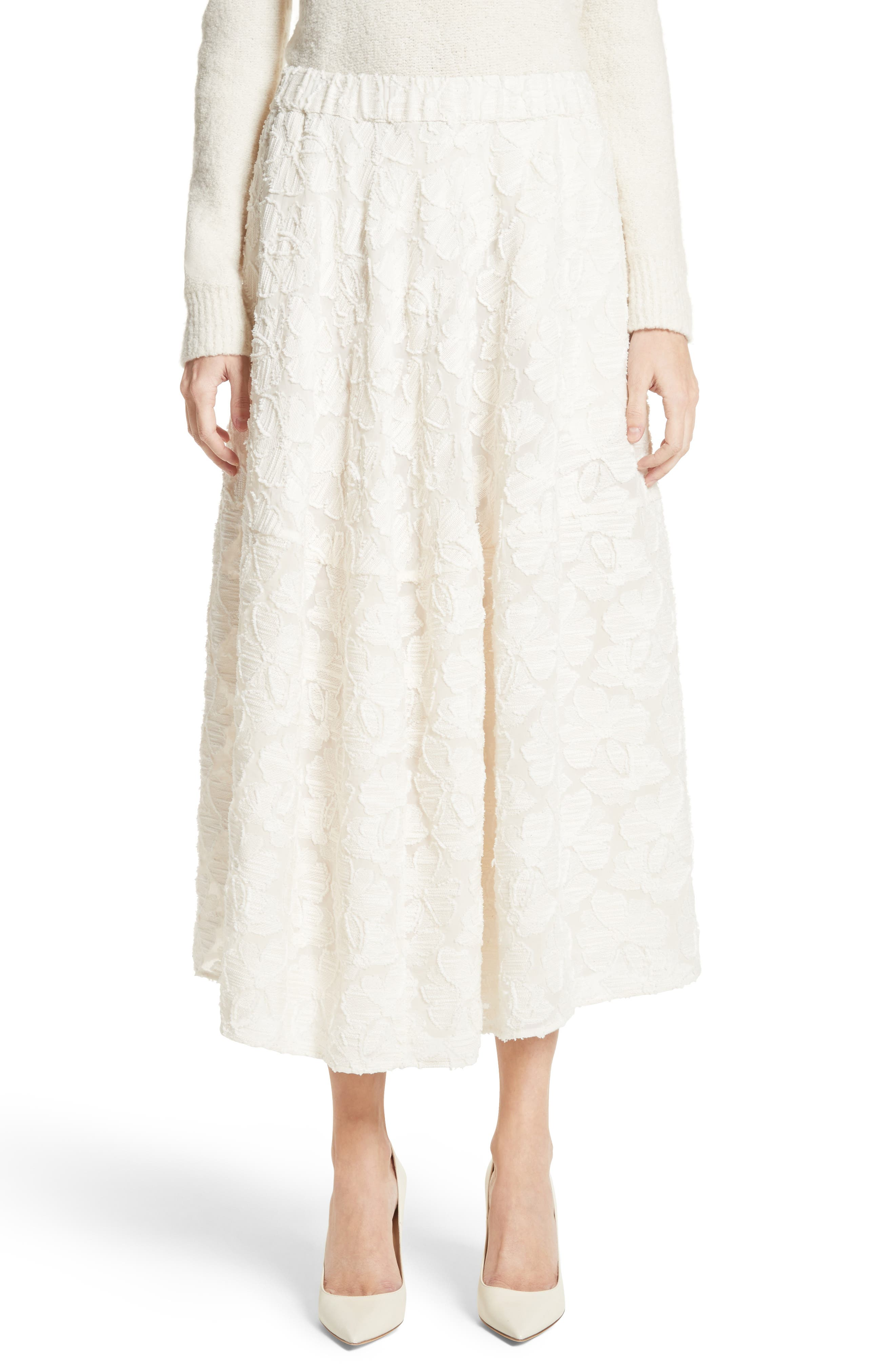 Pleated Fil Coupé Midi Skirt,                             Main thumbnail 1, color,                             900