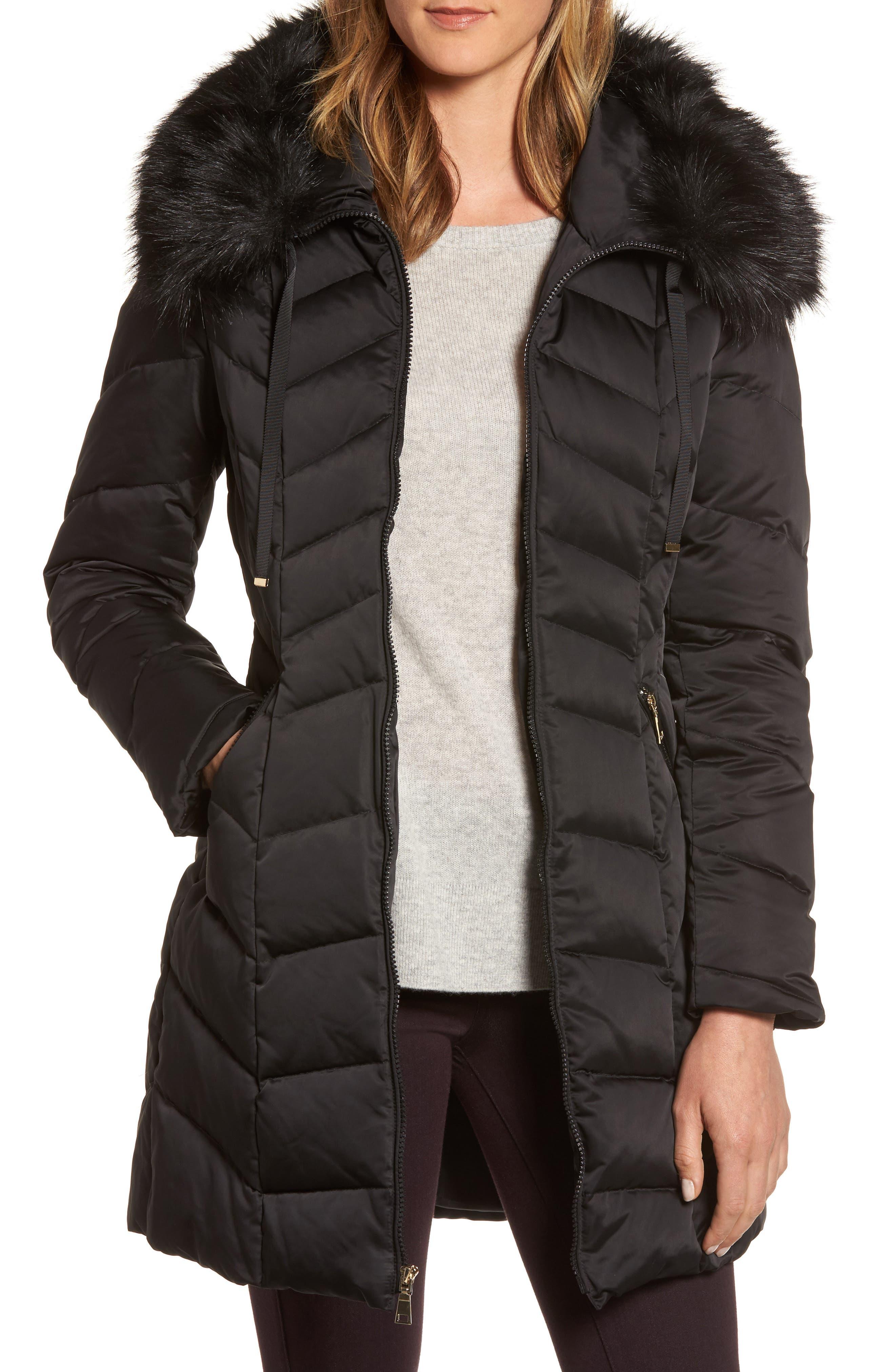 Gwen Chevron Down & Feather Faux Fur Coat,                             Main thumbnail 1, color,                             BLACK