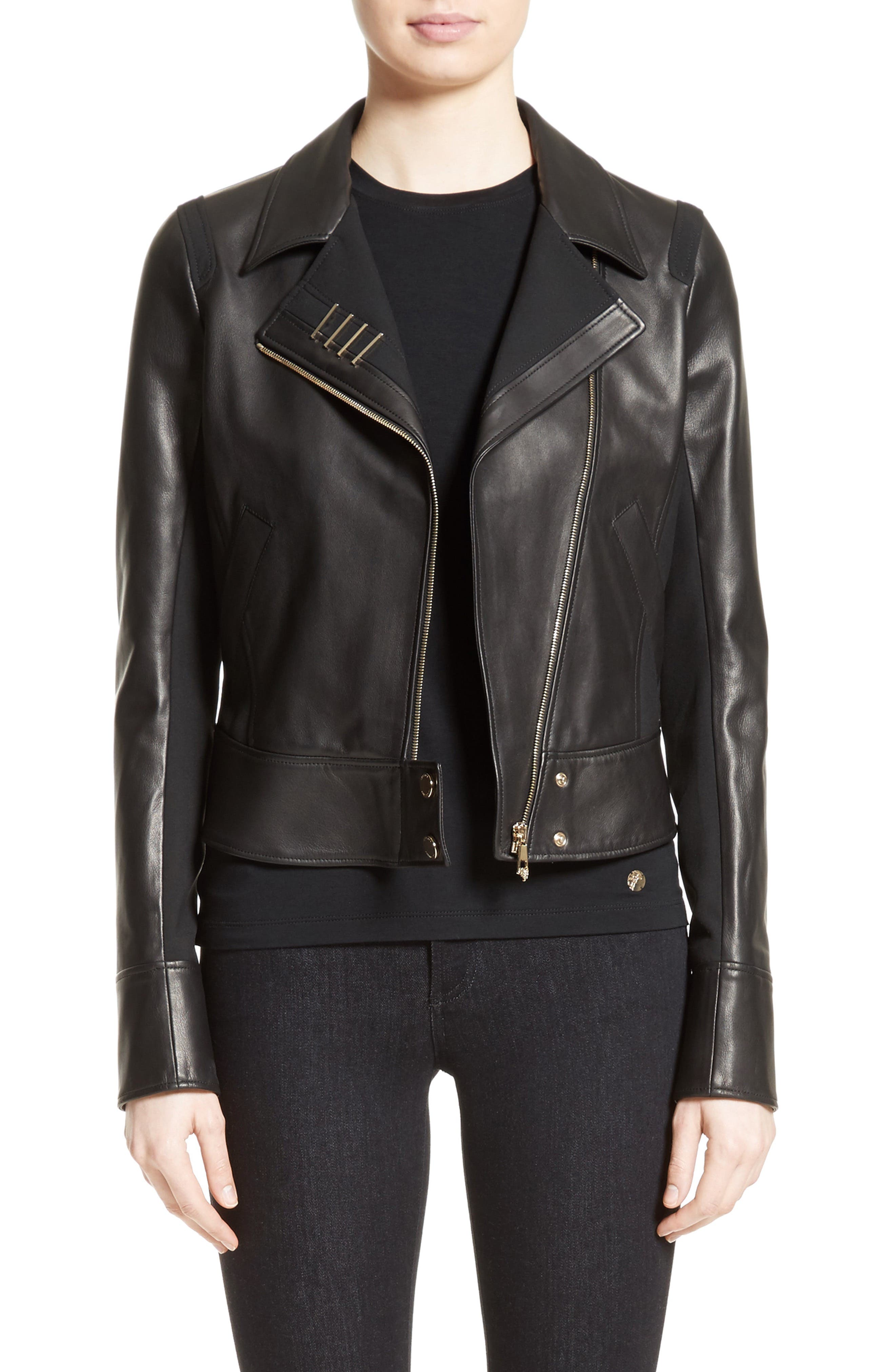 Asymmetrical Zip Leather Jacket,                             Main thumbnail 1, color,                             001