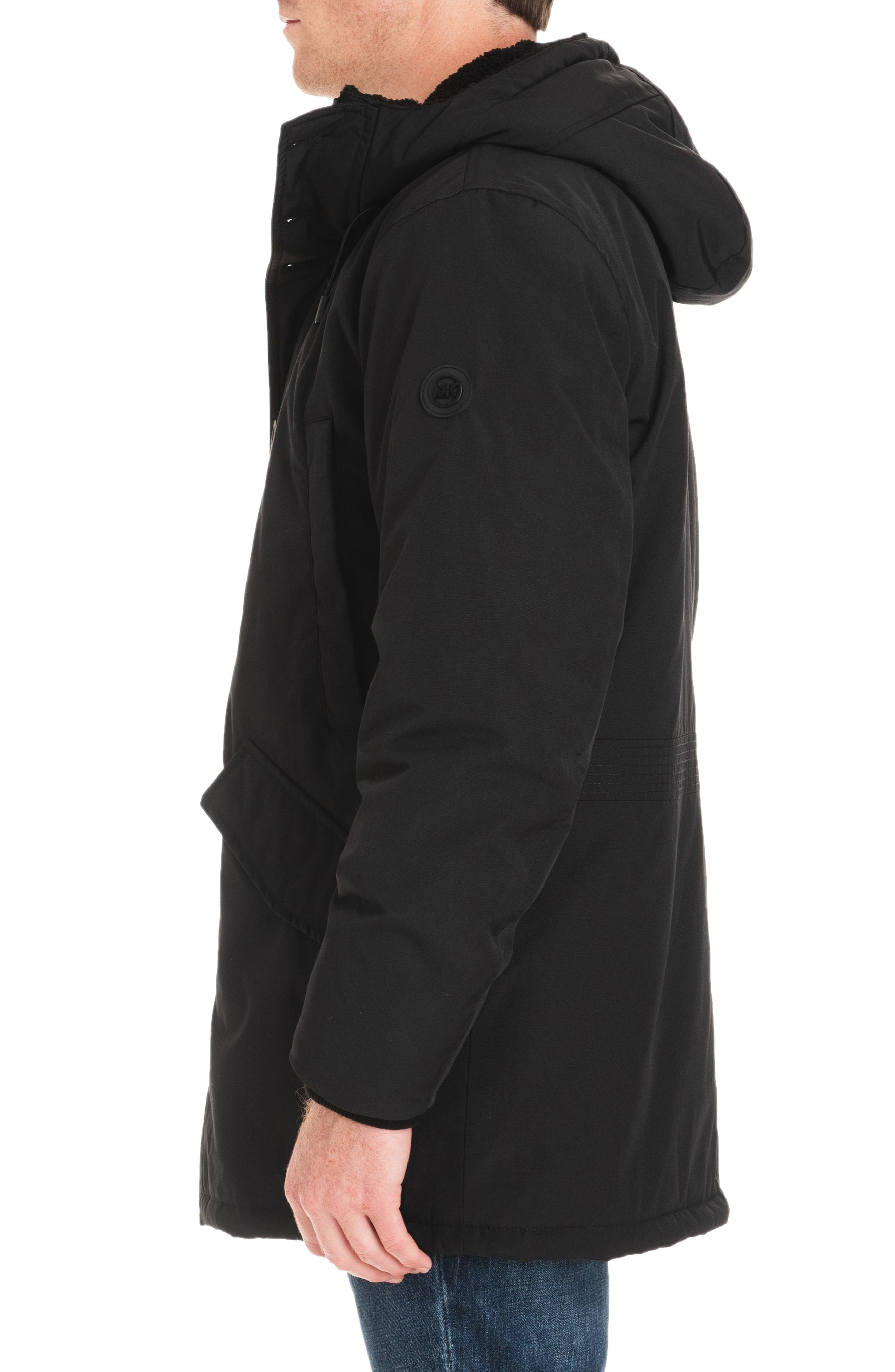 Lafayette Water Resistant Coat with Faux Shearling Lining,                             Alternate thumbnail 3, color,                             BLACK