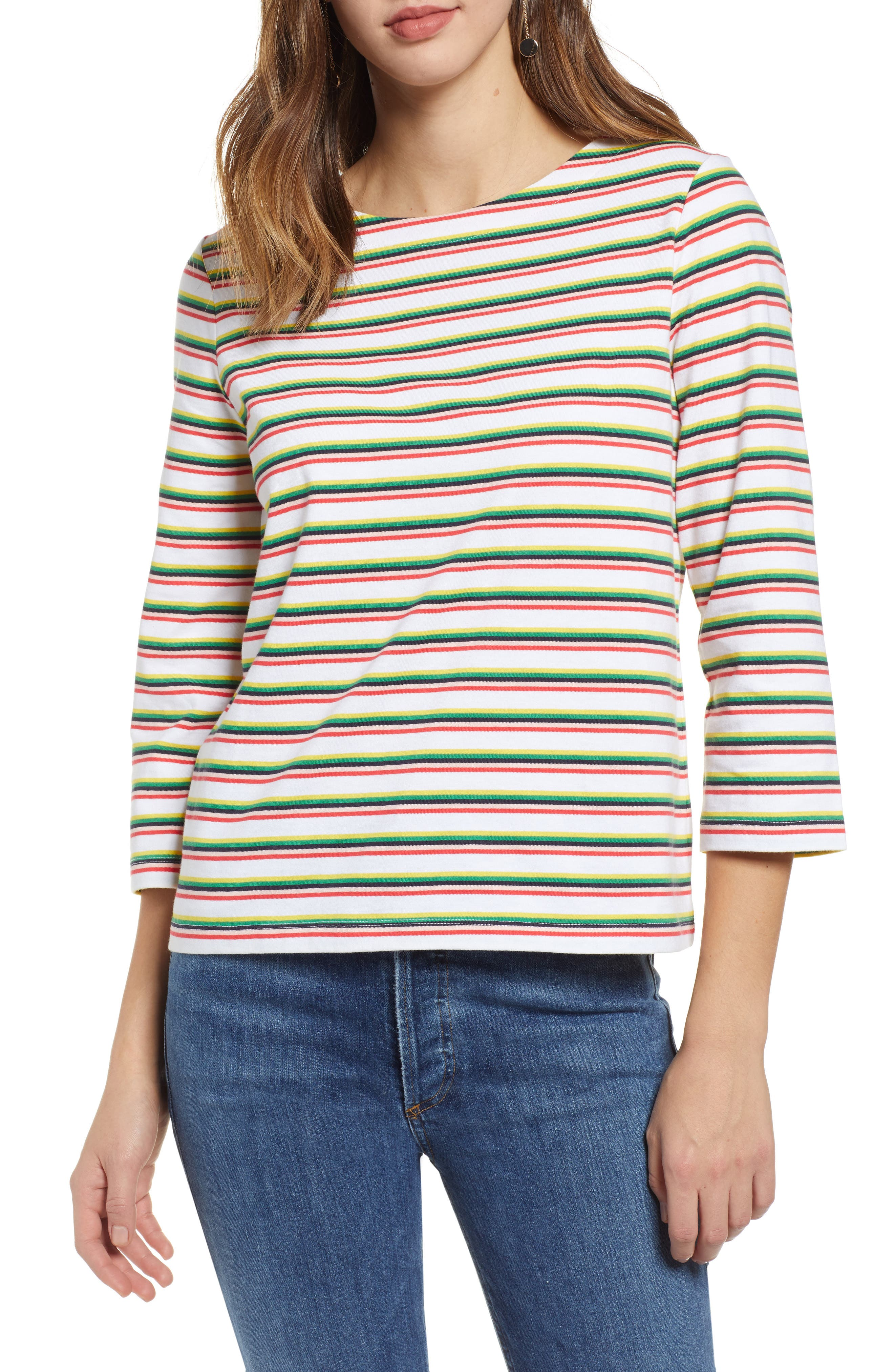 Stripe Top, Main, color, WHITE MULTI PRIDE STRIPE