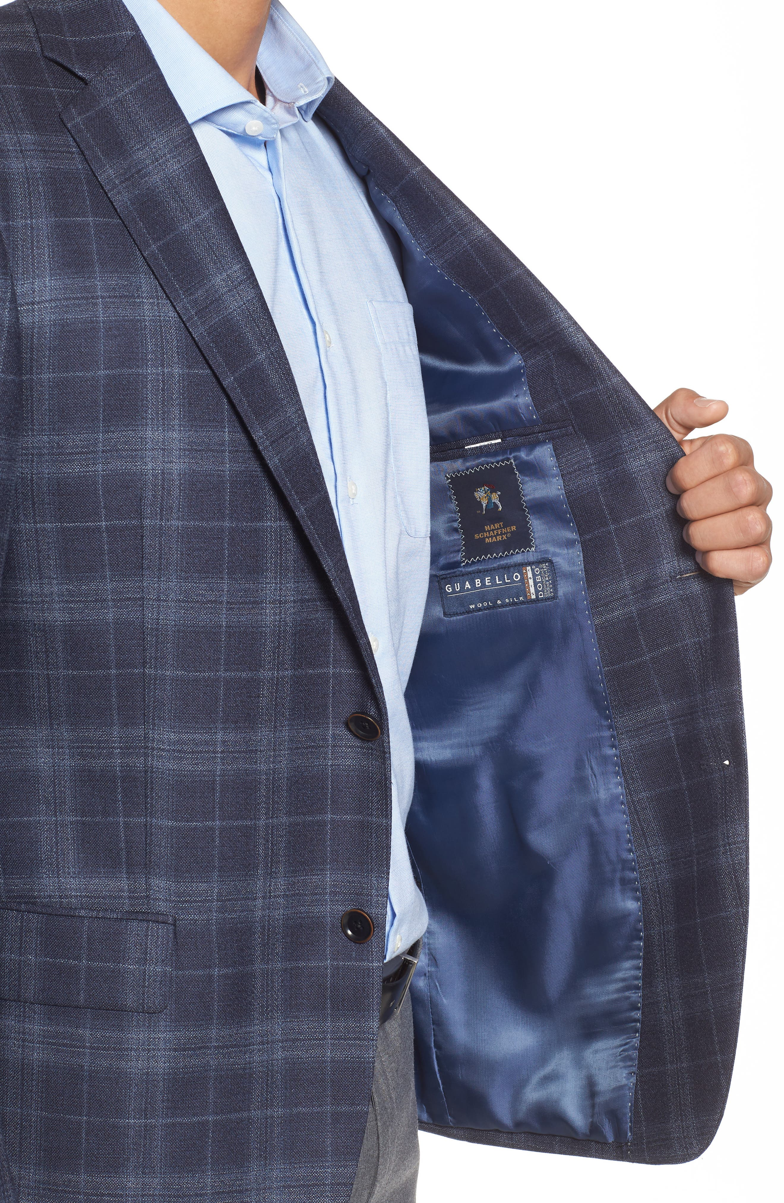 Classic Fit Plaid Wool & Silk Sport Coat,                             Alternate thumbnail 4, color,                             NAVY