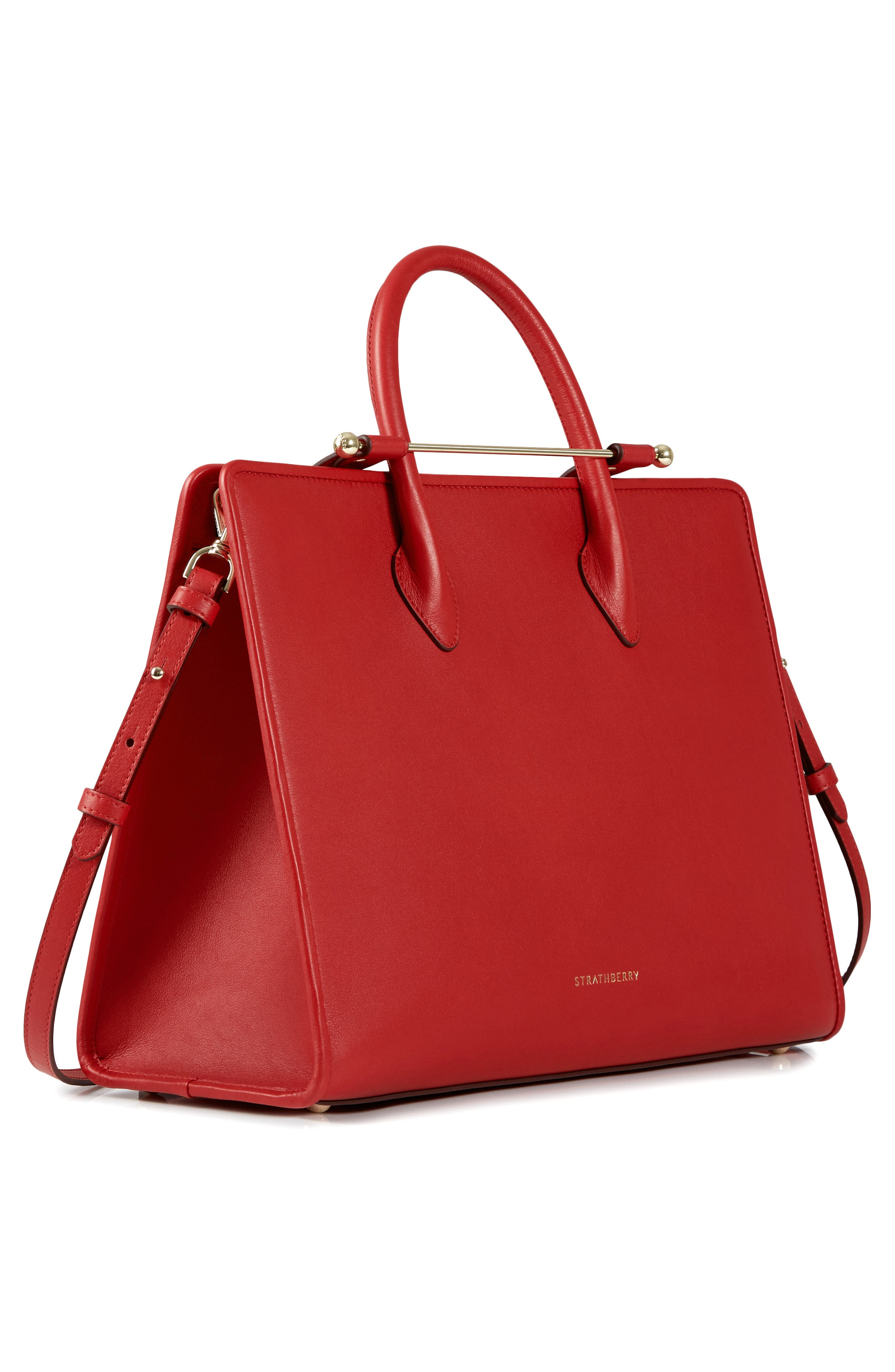 Large Leather Tote,                             Alternate thumbnail 4, color,                             RUBY