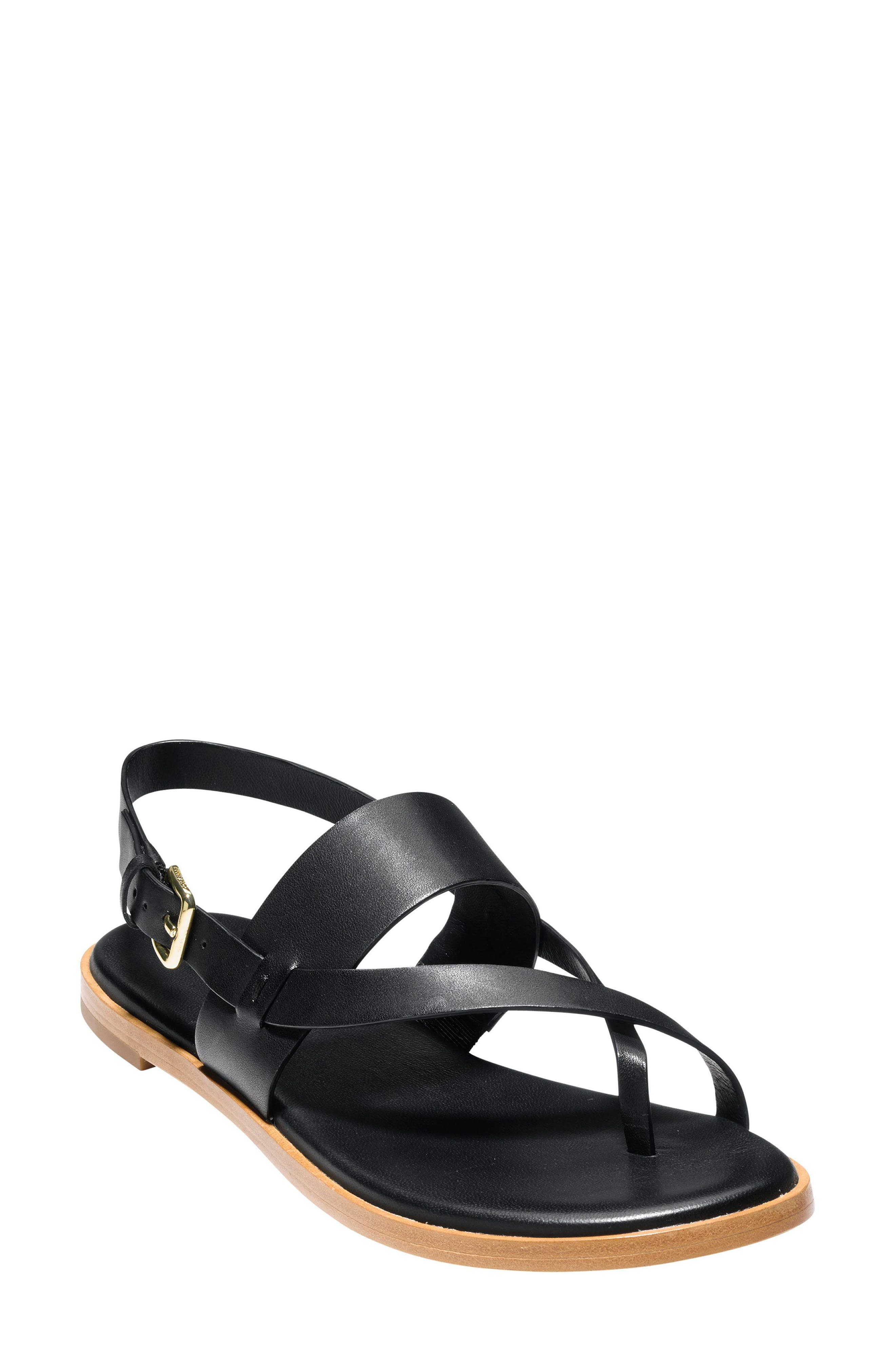 fbc7f0d8a07 Cole Haan Women S Anica Leather Thong Sandals In Black Leather ...