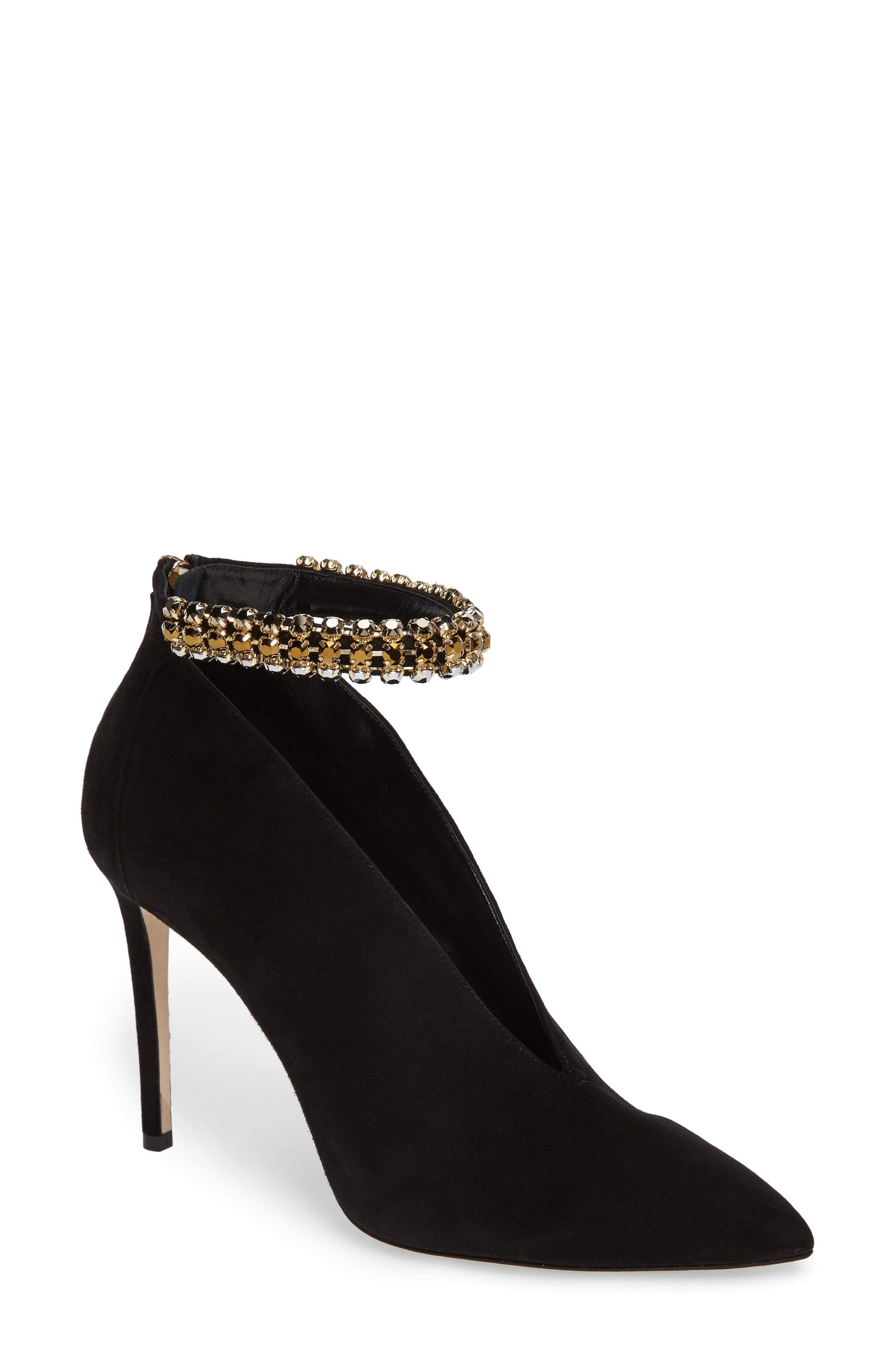 Lux Embellished Ankle Strap Bootie,                             Main thumbnail 1, color,                             001