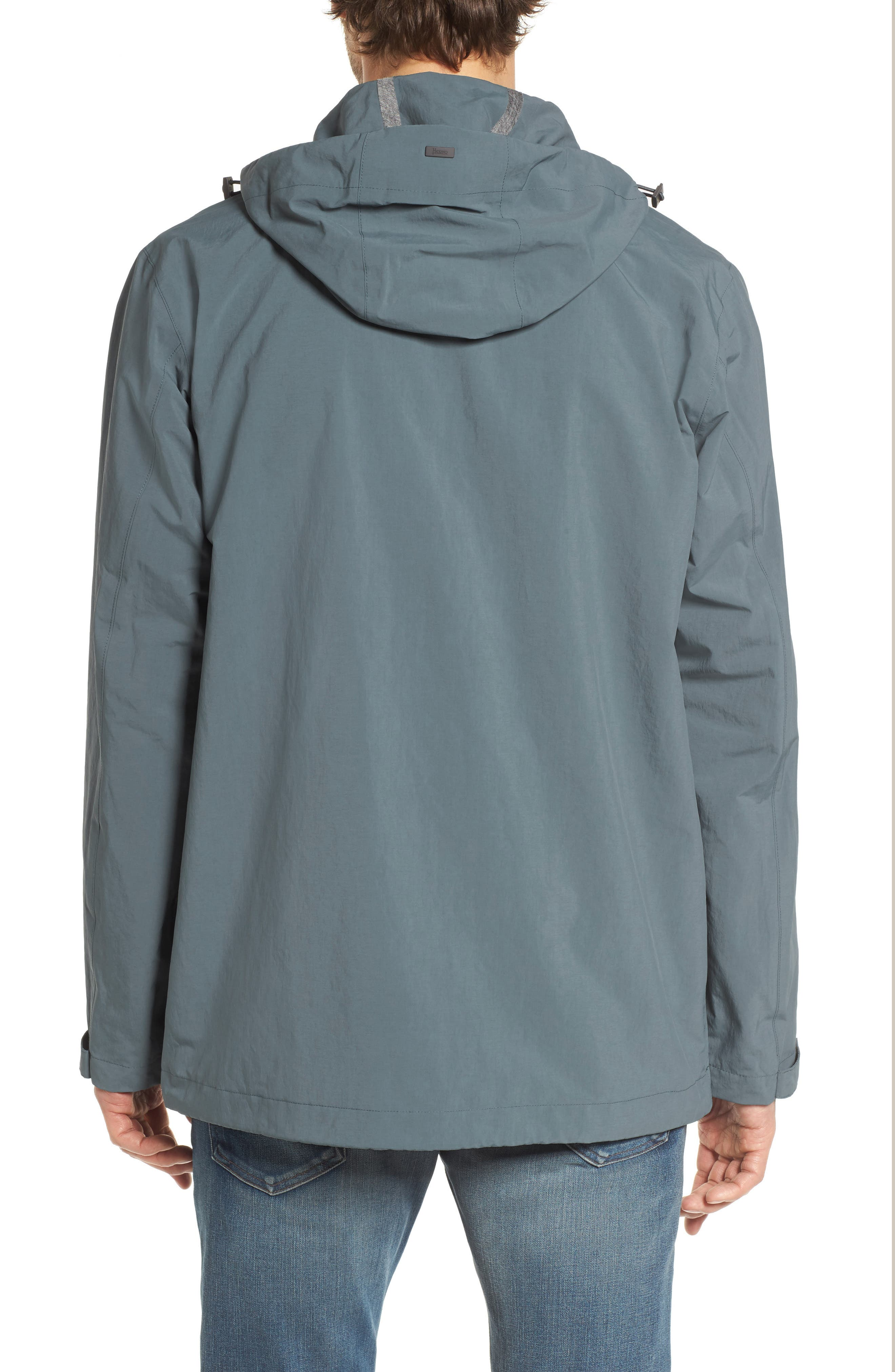 Plaster Hooded Raincoat,                             Alternate thumbnail 2, color,                             BLUE/ GREY
