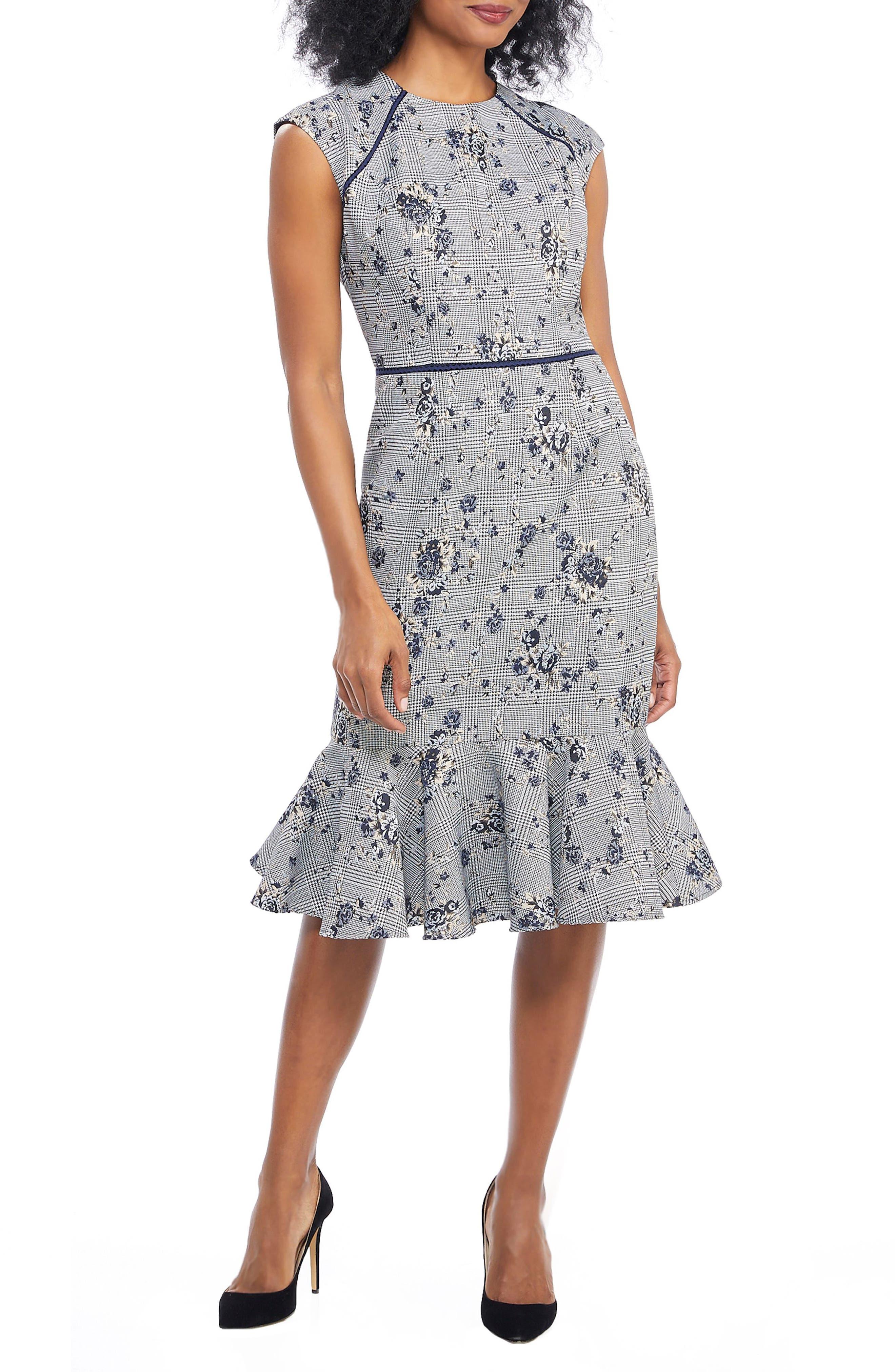 Petite Maggy London Plaid Rose Dress, Blue