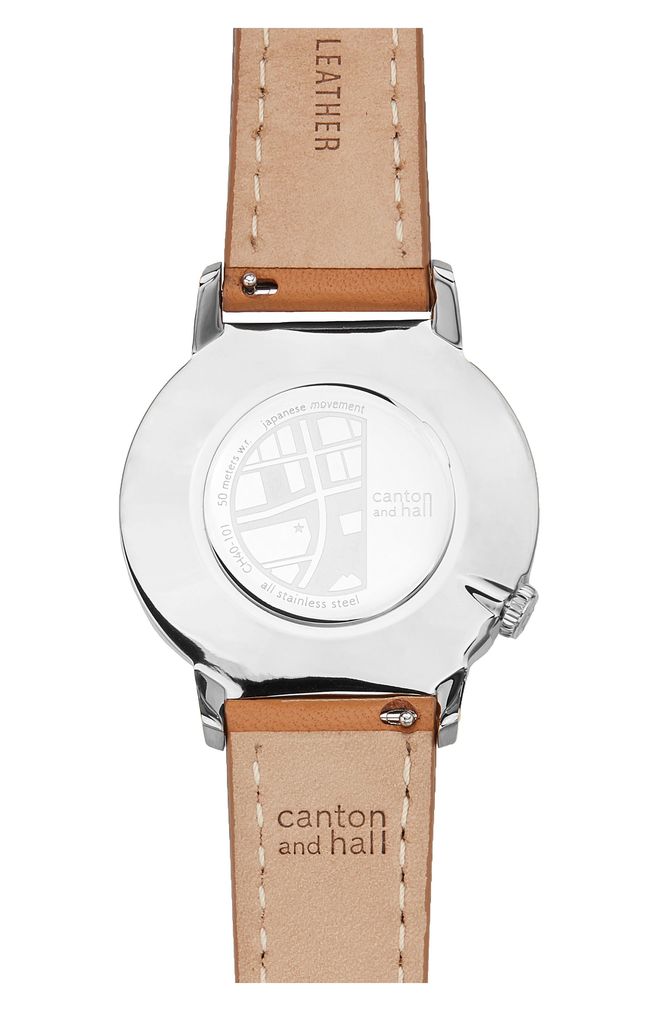 Davis Slim Leather Strap Watch, 40mm,                             Alternate thumbnail 2, color,                             WHITE/ TAN